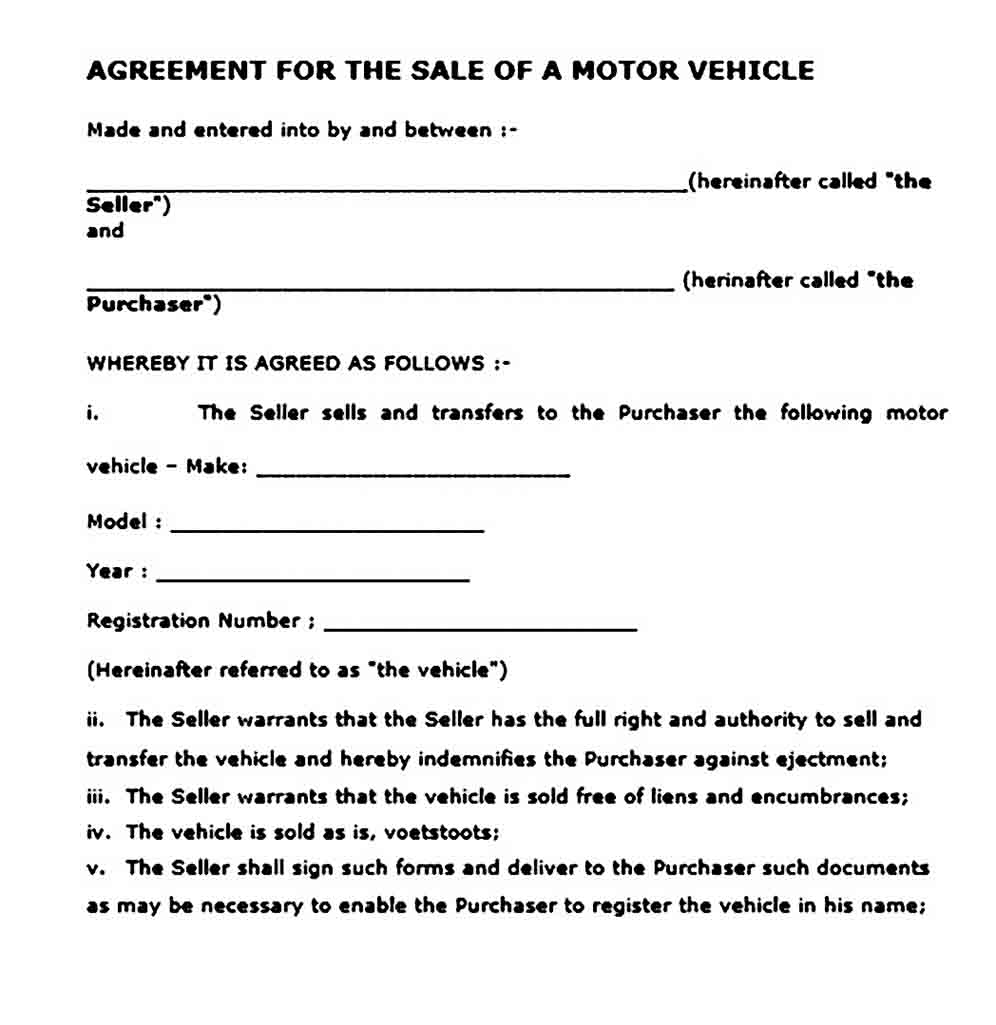 Agreement for The Sale of Motor Vehicle