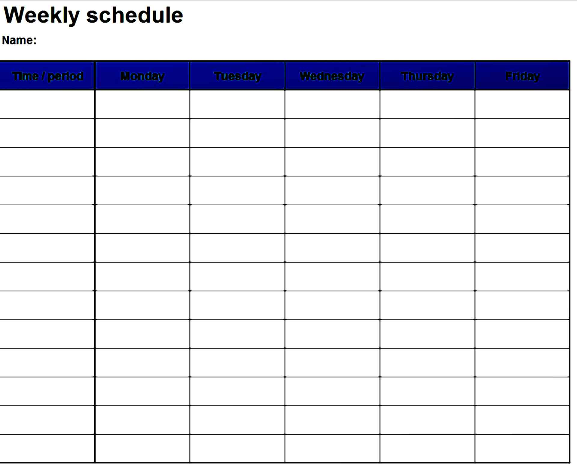 Work Schedule Template 14