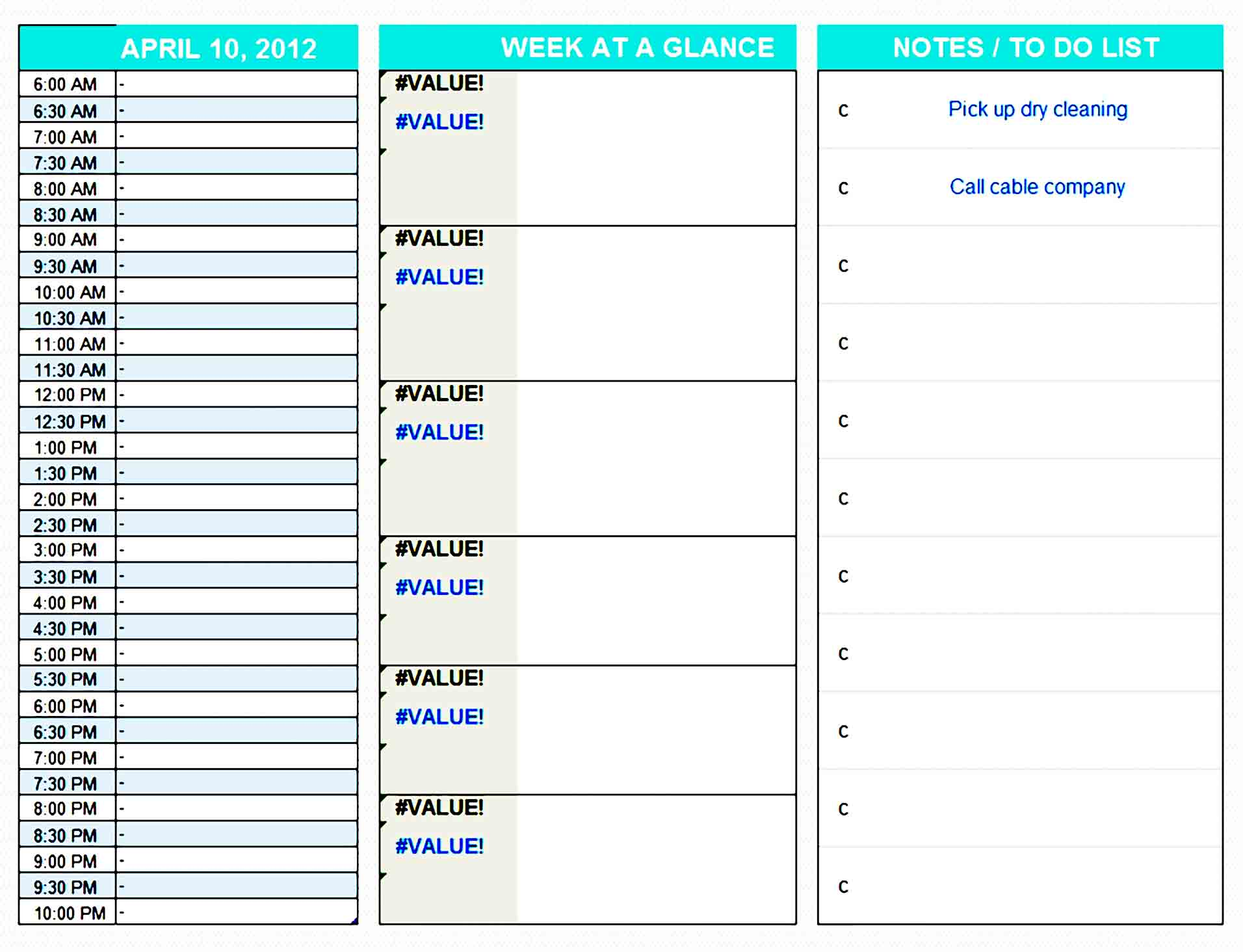 daily planner template 24