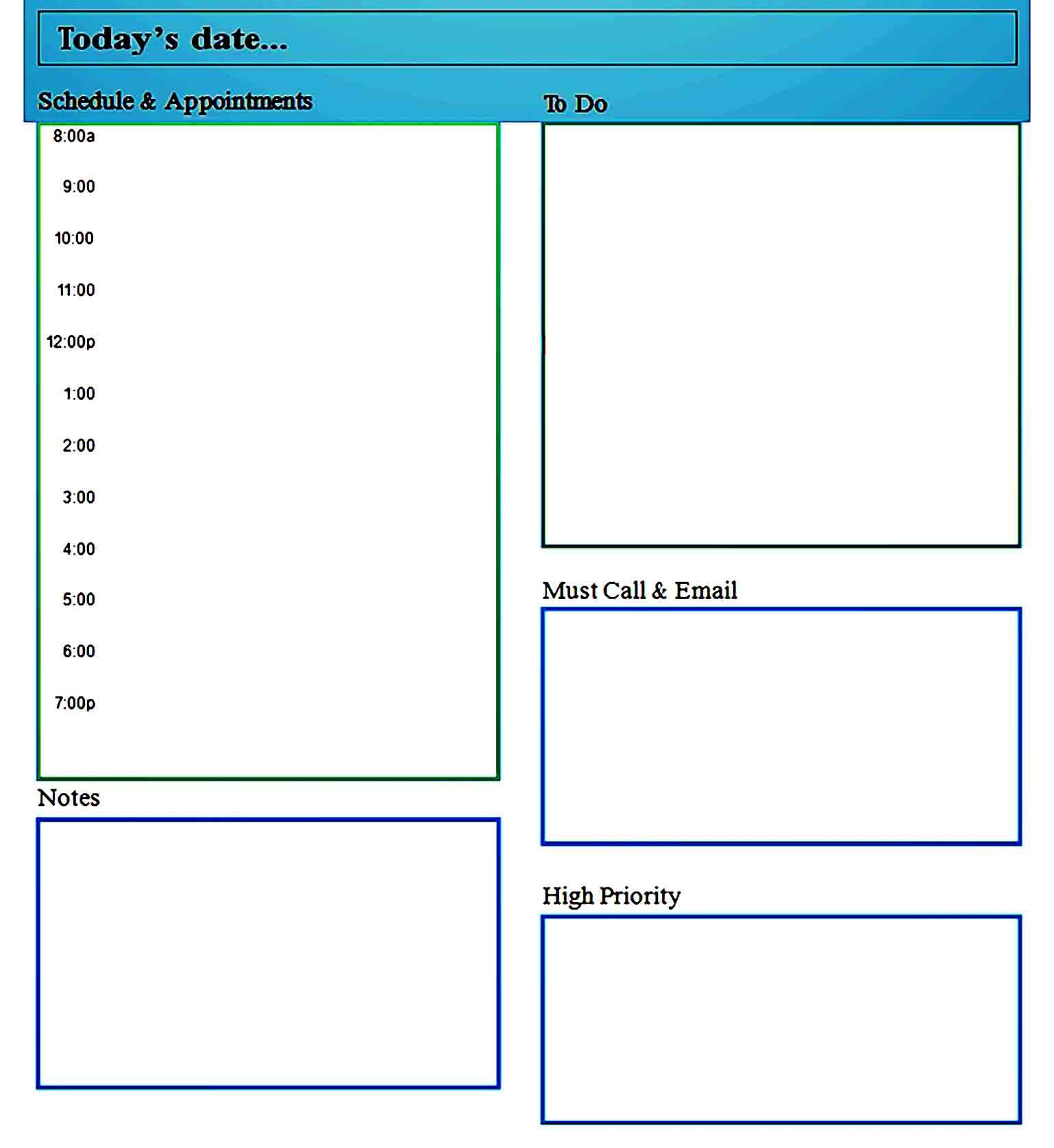 daily planner template 30