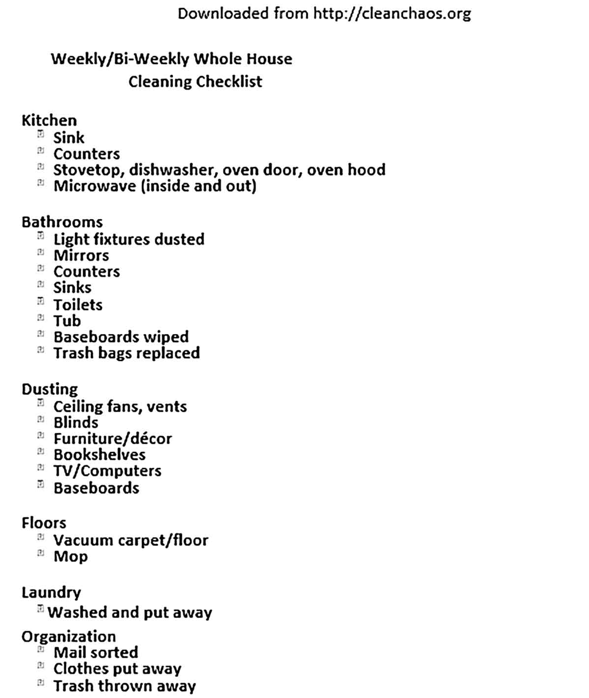 Template Bi Weekly Whole House Cleaning Checklist Sample