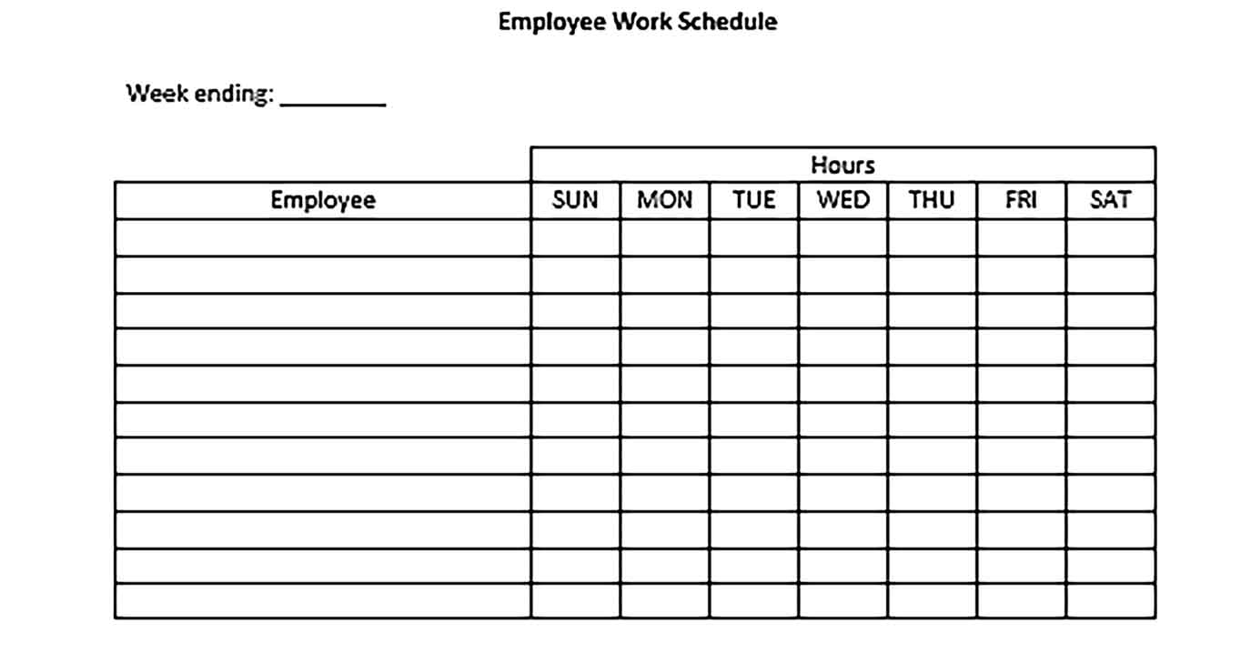 Template Blank Employee Daily Work Schedule Sample