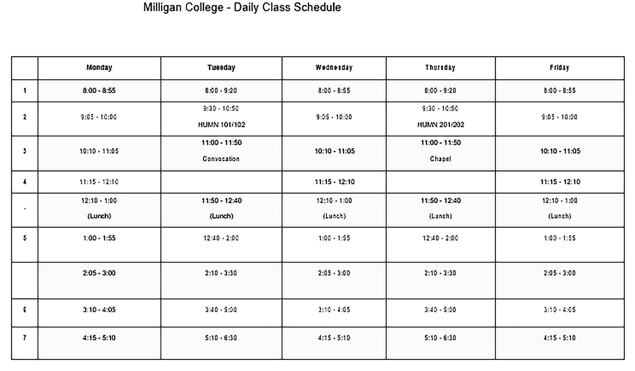 Template College Daily Class Schedule Sample Copy