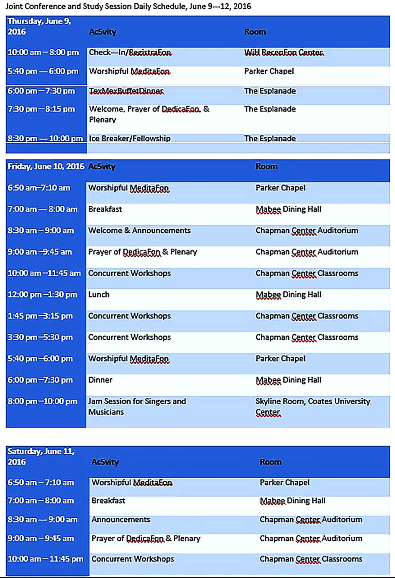 Template Conference Room Daily Schedule Sample Copy
