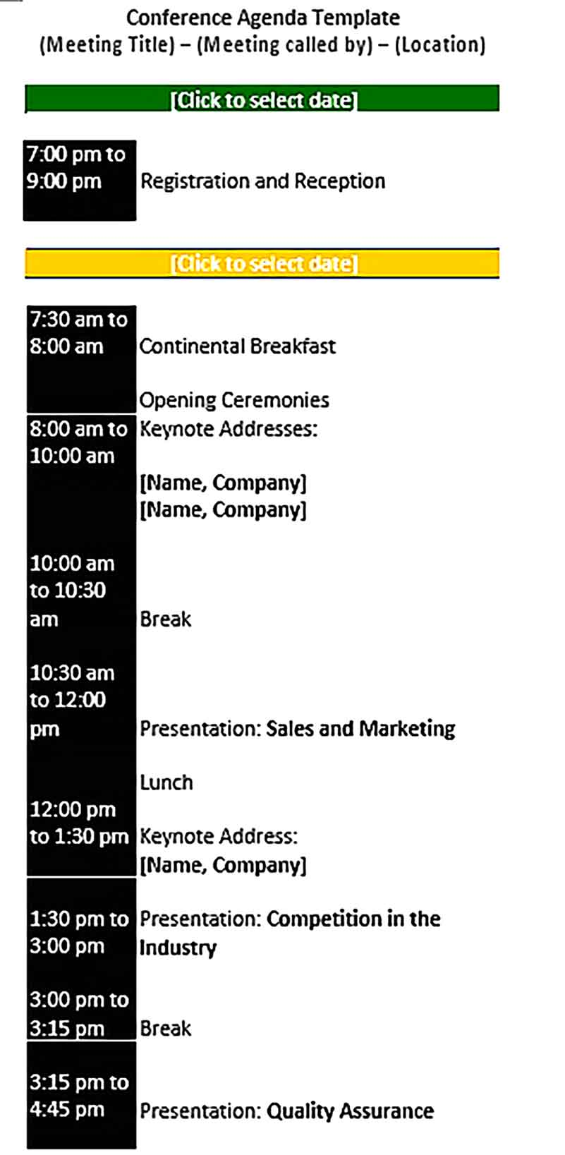 Template Conference Schedule Presentation Sample
