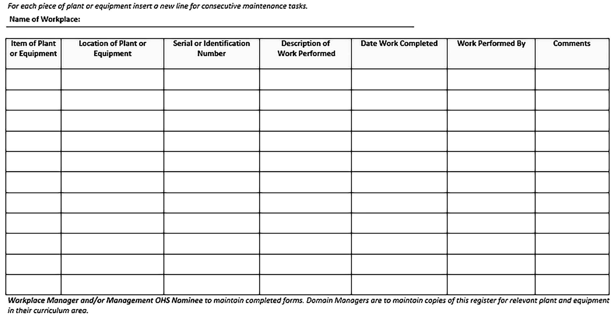 Template DEE EHU 10 4 1 Plant and Equipment Maintenance Form 2 Sample