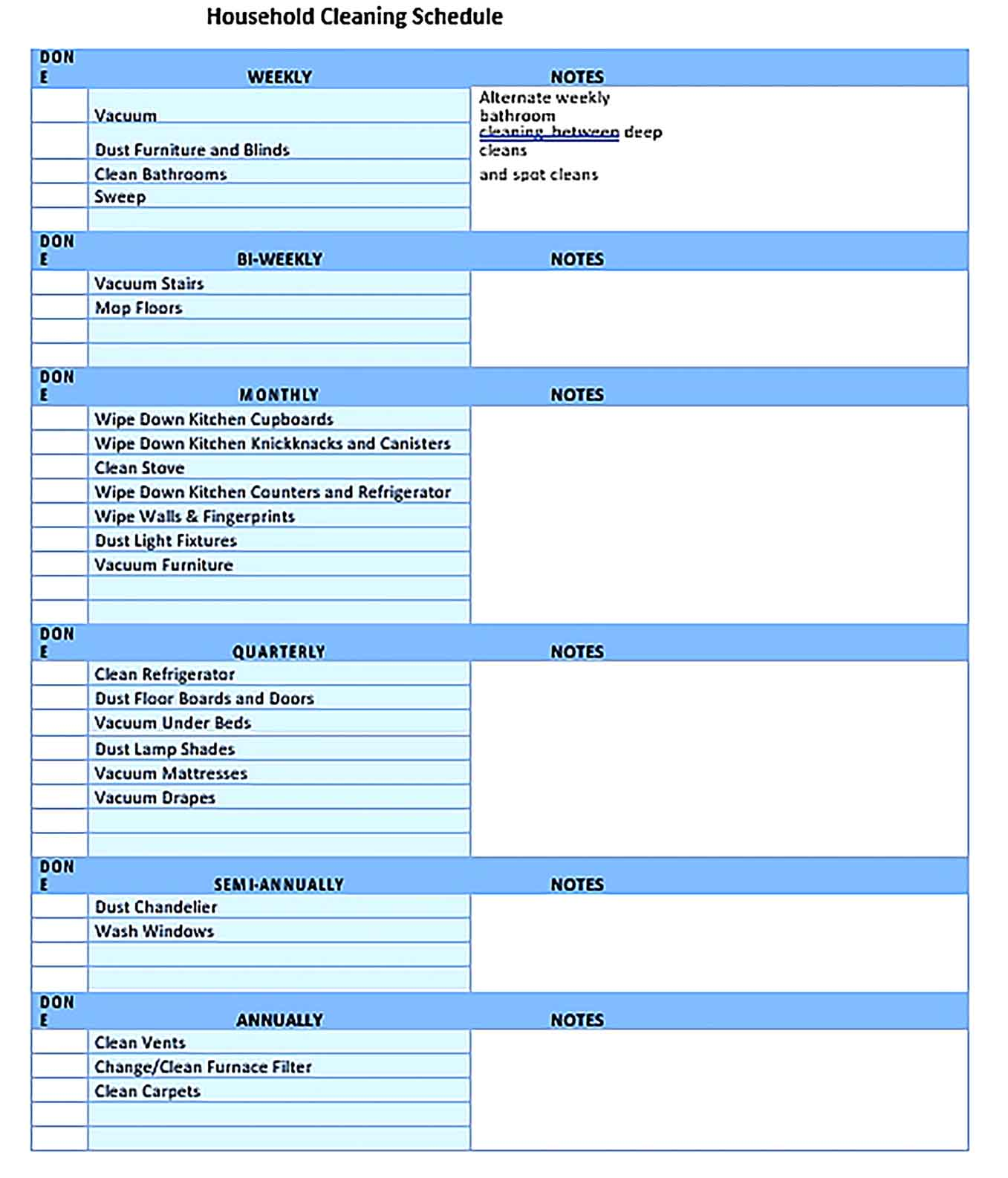 Template Daily House Cleaning Schedule Sample