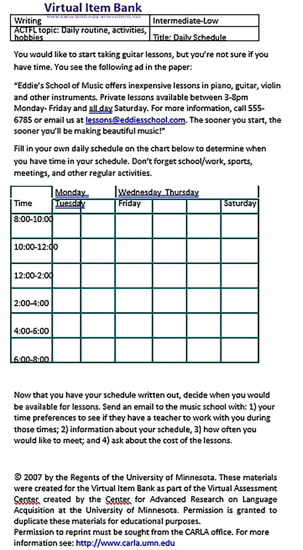 Template Daily Routine Schedule Sample Copy