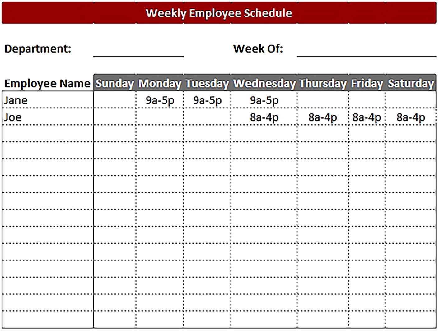 Template Daily Work Schedule Excel Format Sample