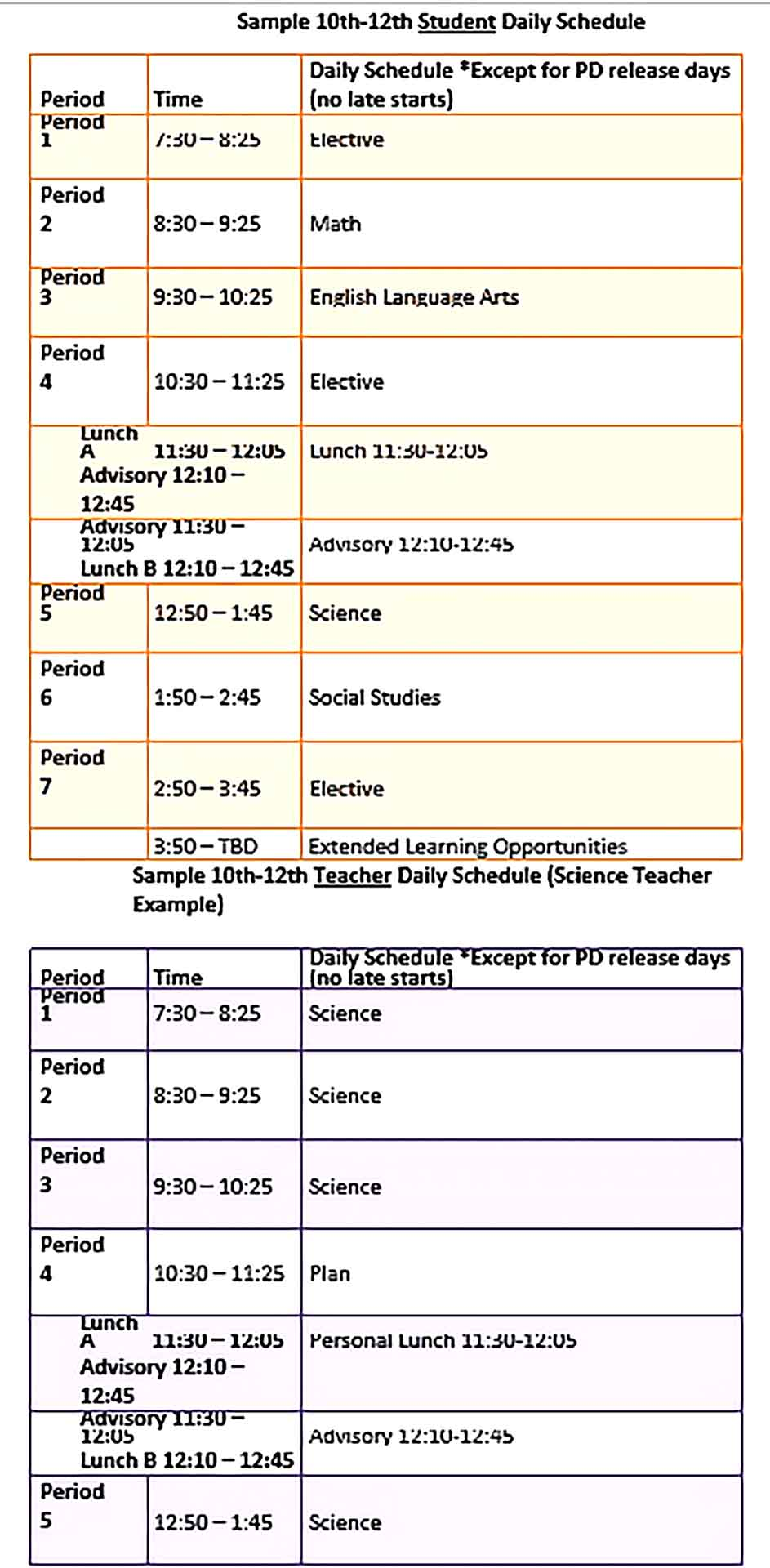 Template Editable Student Daily Schedule Sample Copy