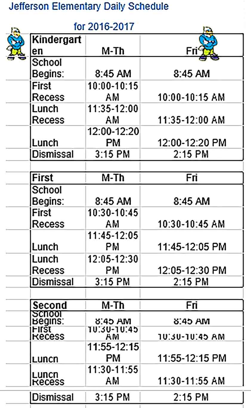Template Elementary Daily Schedule Sample Copy