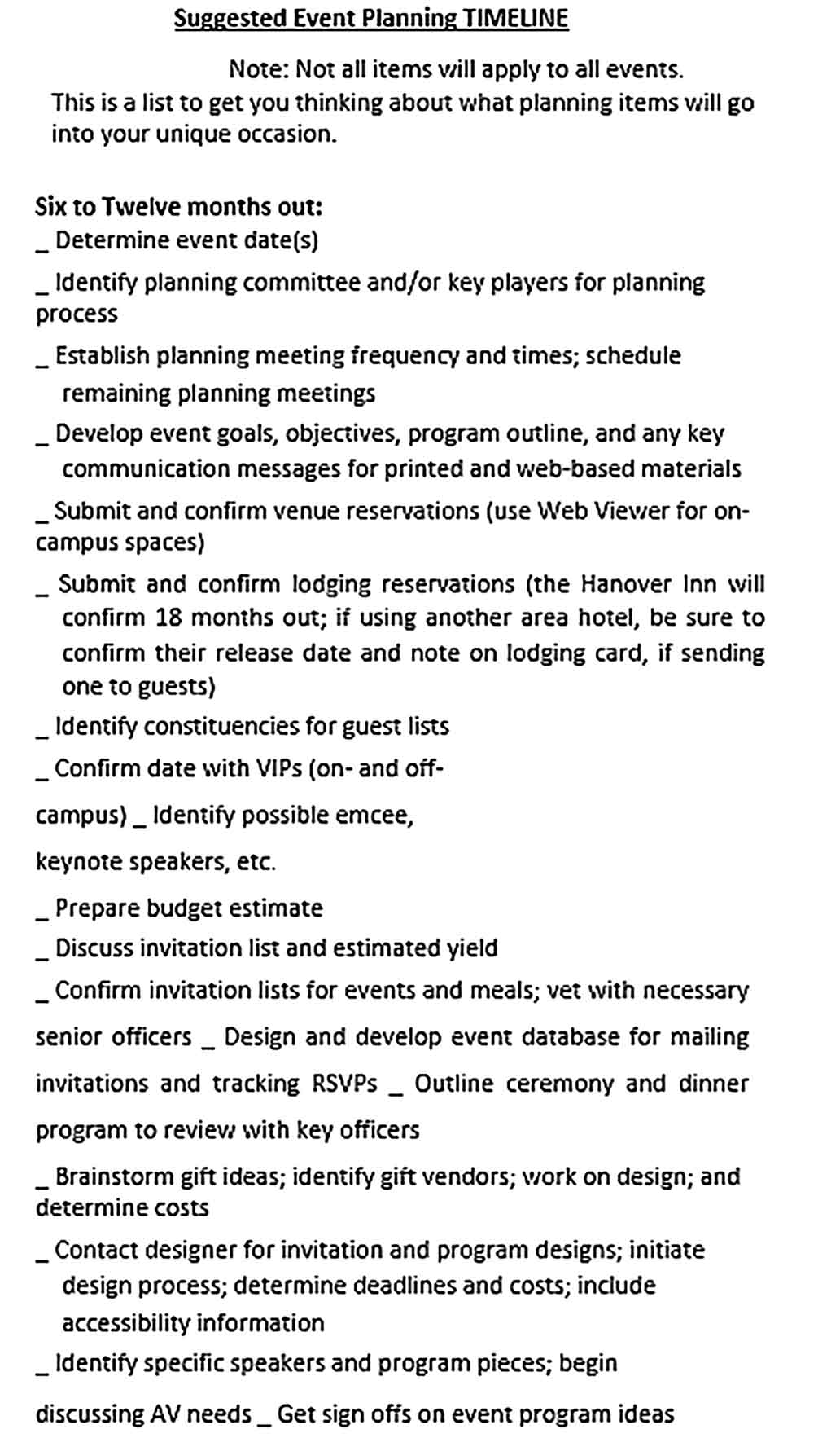 Template Event Planning Production Schedule Sample