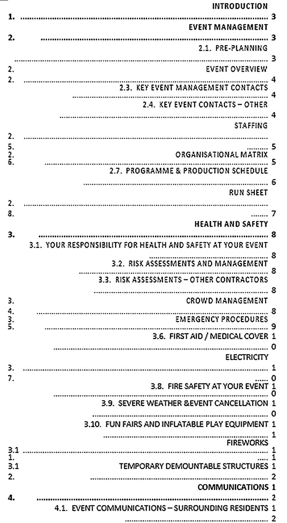Template Event Production Schedule Sample