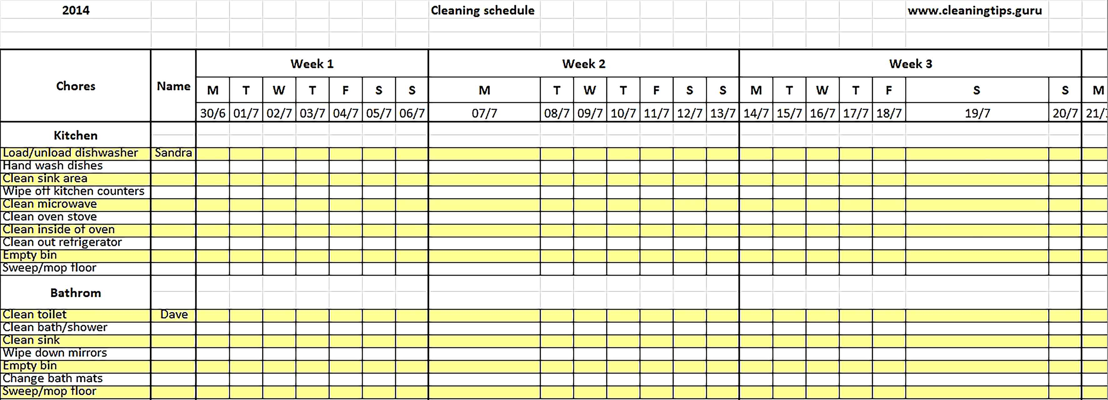 Template Excel Weekly Cleaning Schedule .doc Sample