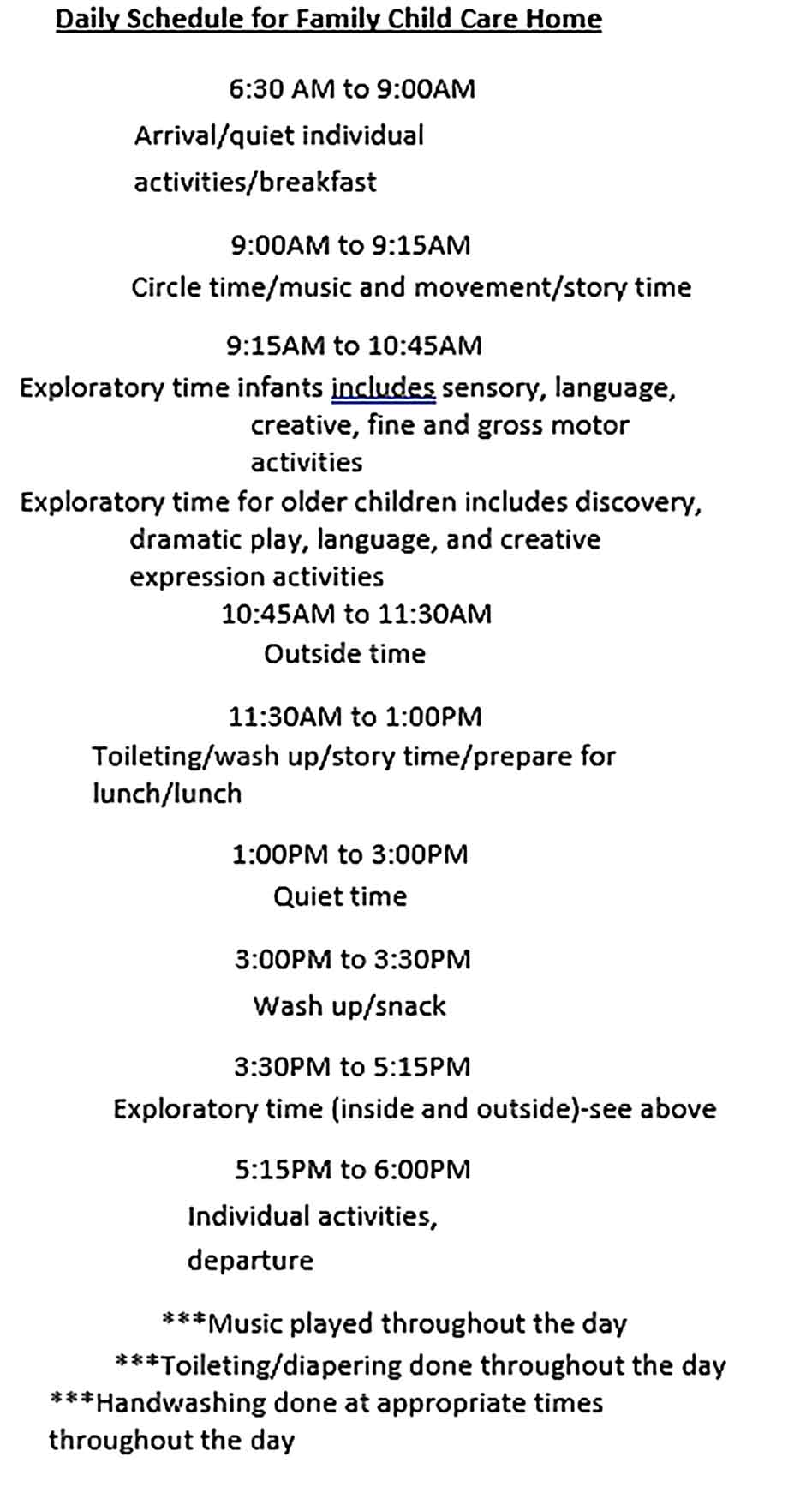 Template Family Child Care Daily Schedule Sample Copy