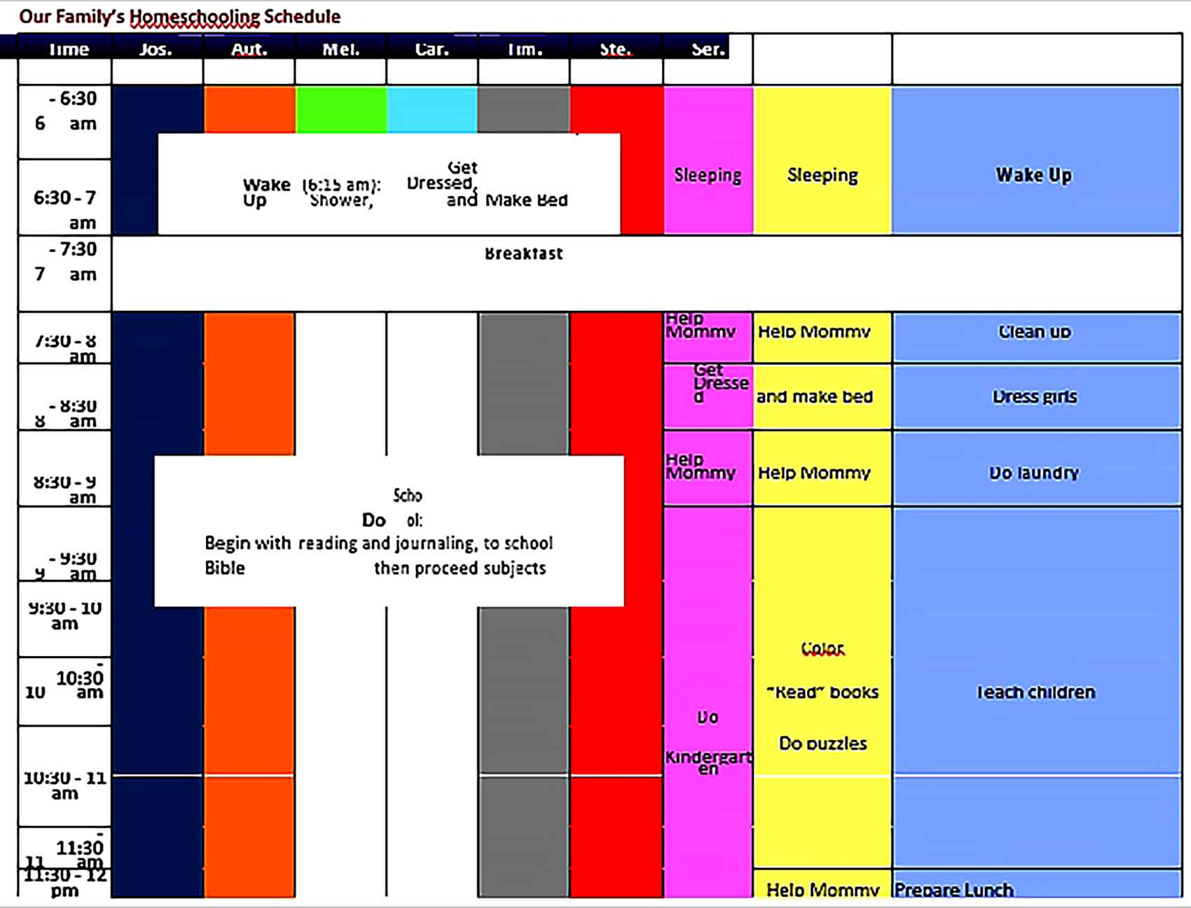 Template Family Home Schooling Schedule Sample