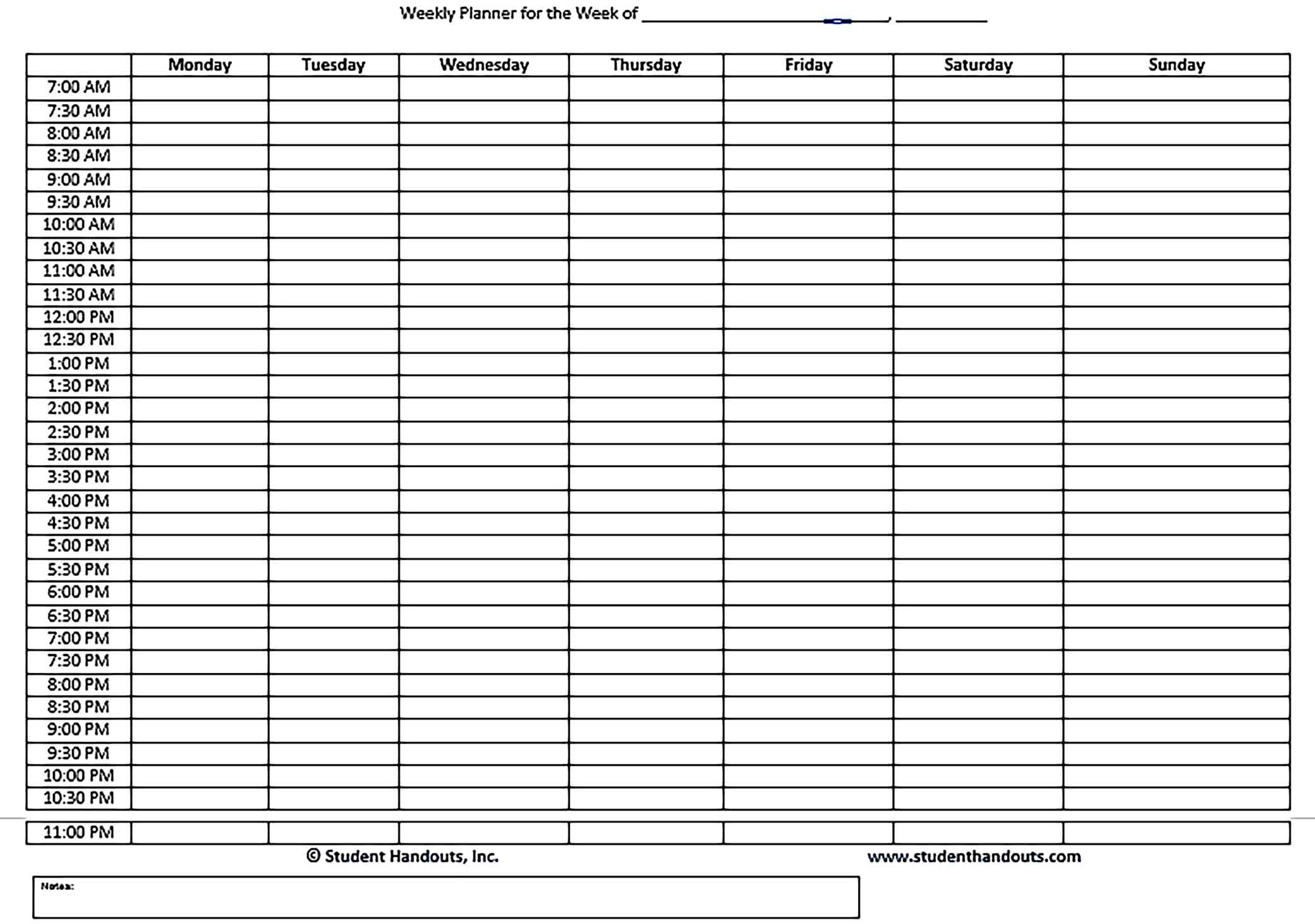 Template Family Schedule Daily Weekly Hourly Planner Word Doc Sample