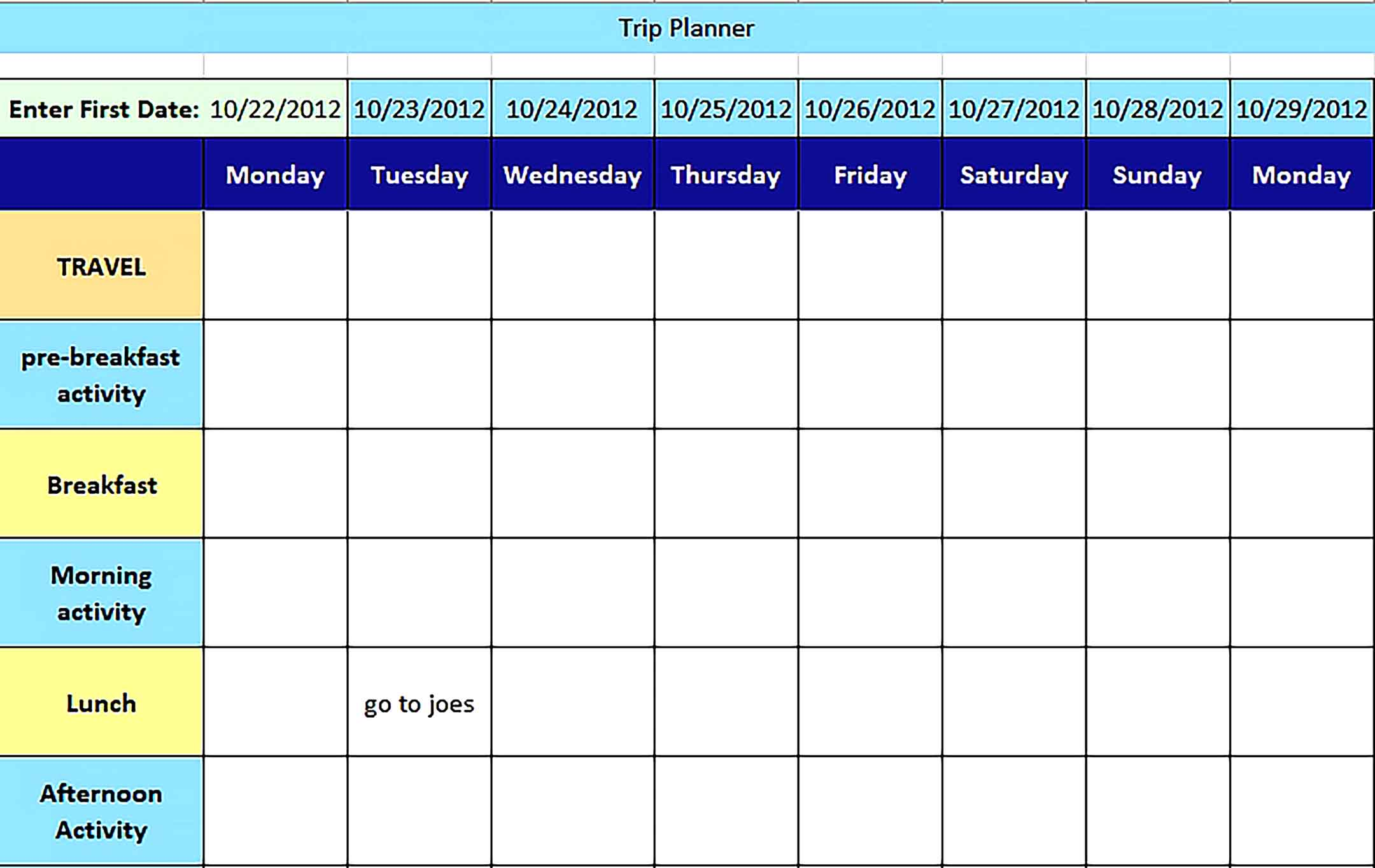 Template Holiday Trip Planning Schedule Excel Sample