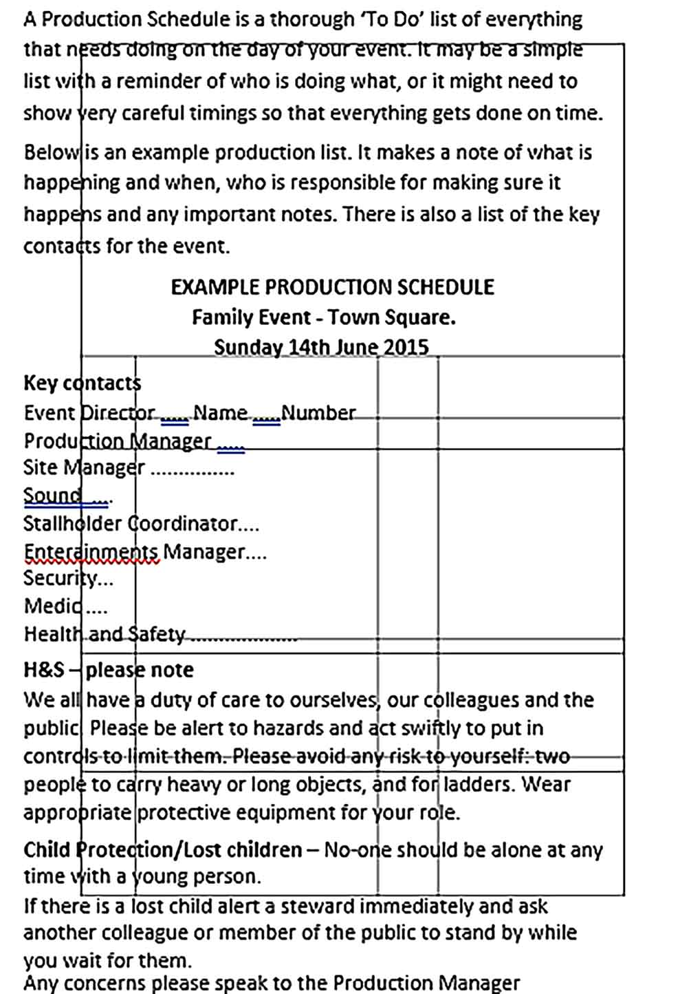 Template Live Event Production Schedule Sample