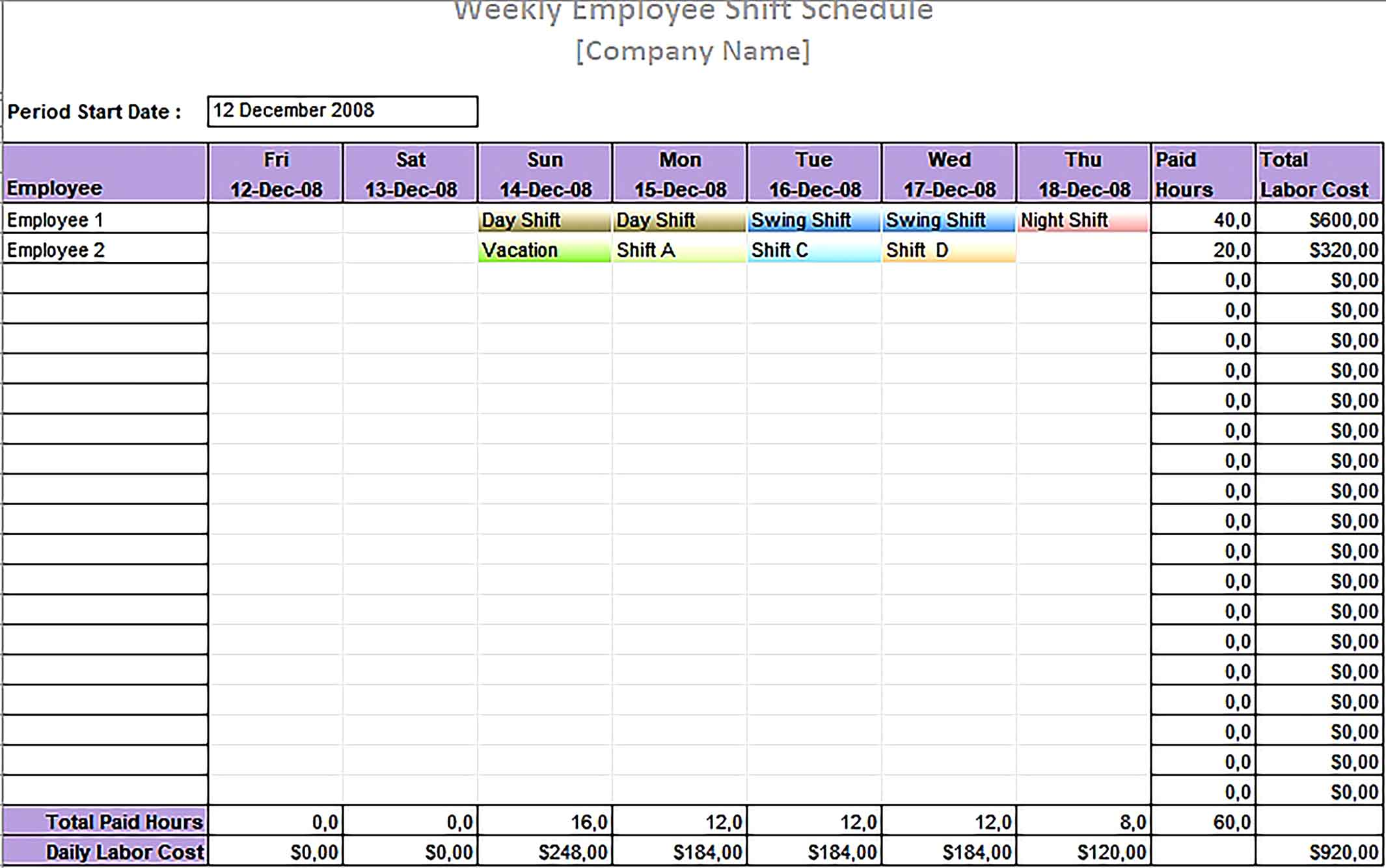 Template Printable Employee Daily Work Schedule Sample
