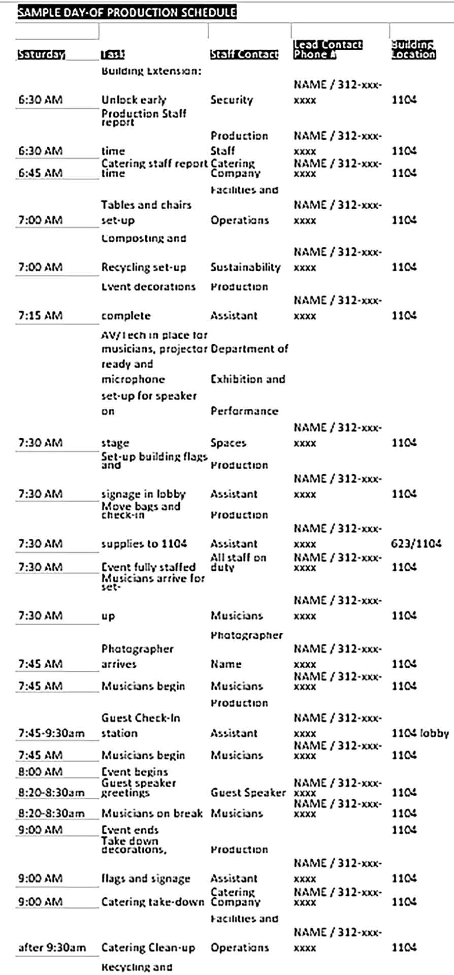 Template Special Event Production Schedule Sample