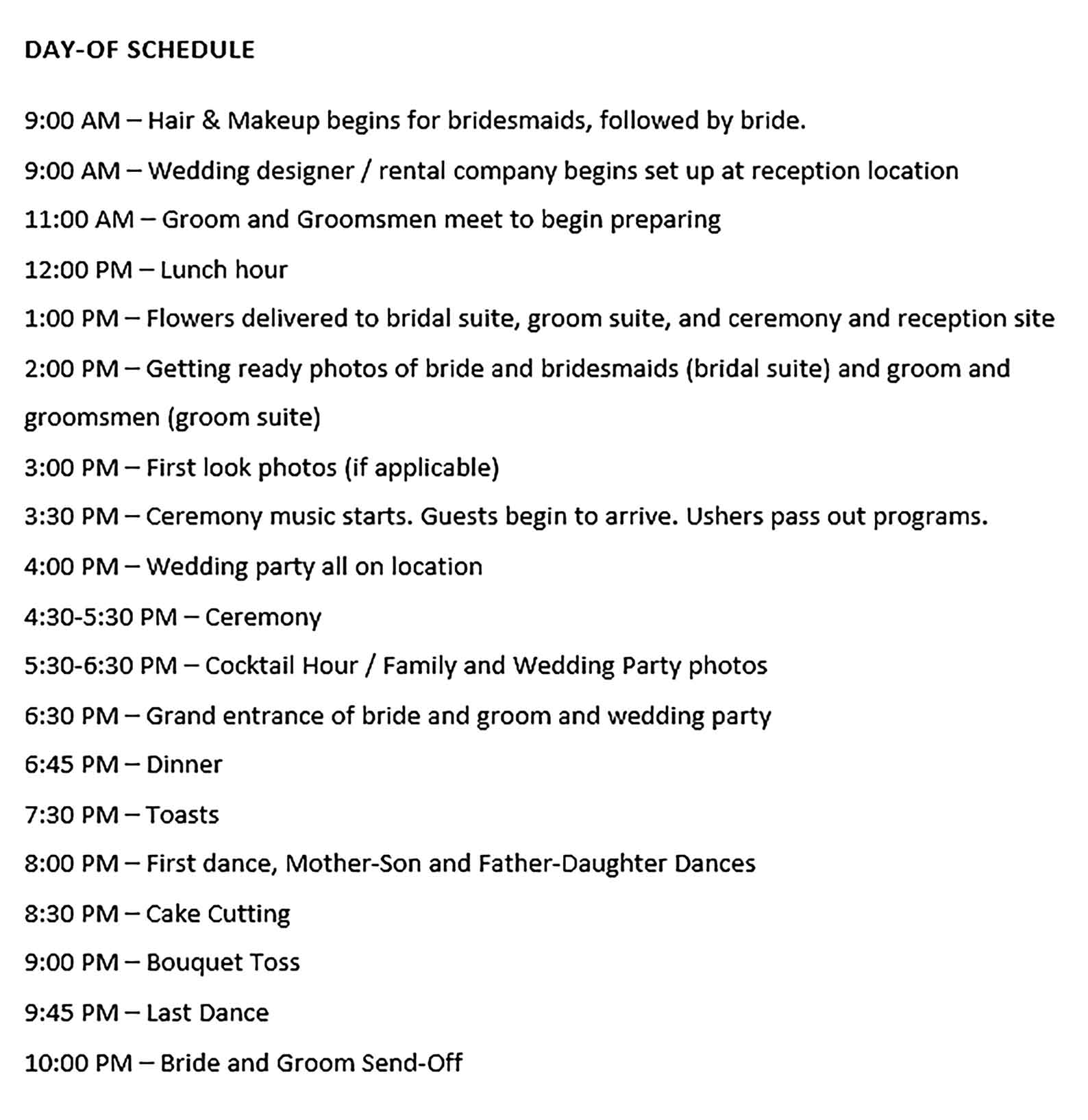 Template Wedding Day Schedule in Word Doc Sample