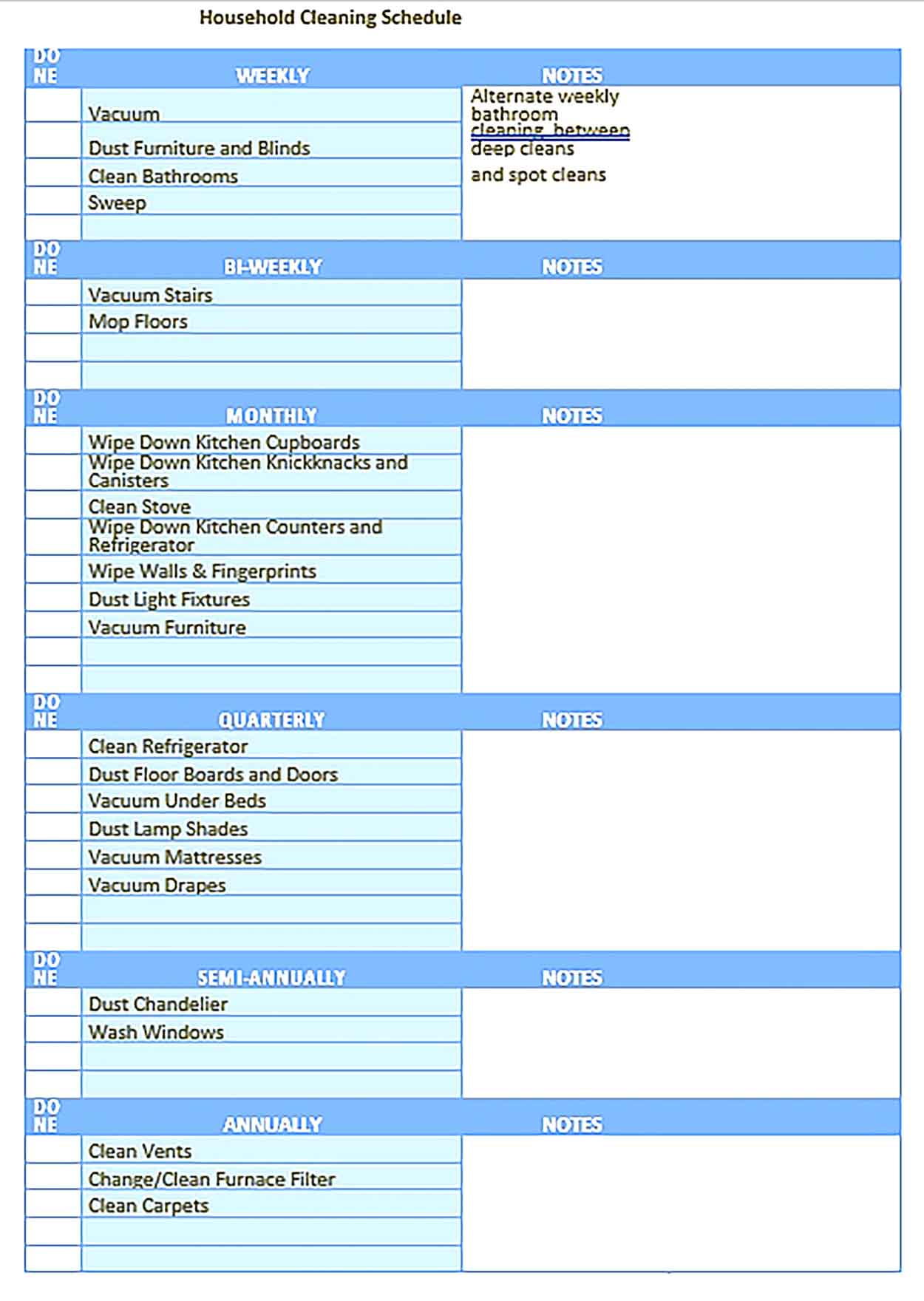Template Weekly House Cleaning Schedule Sample