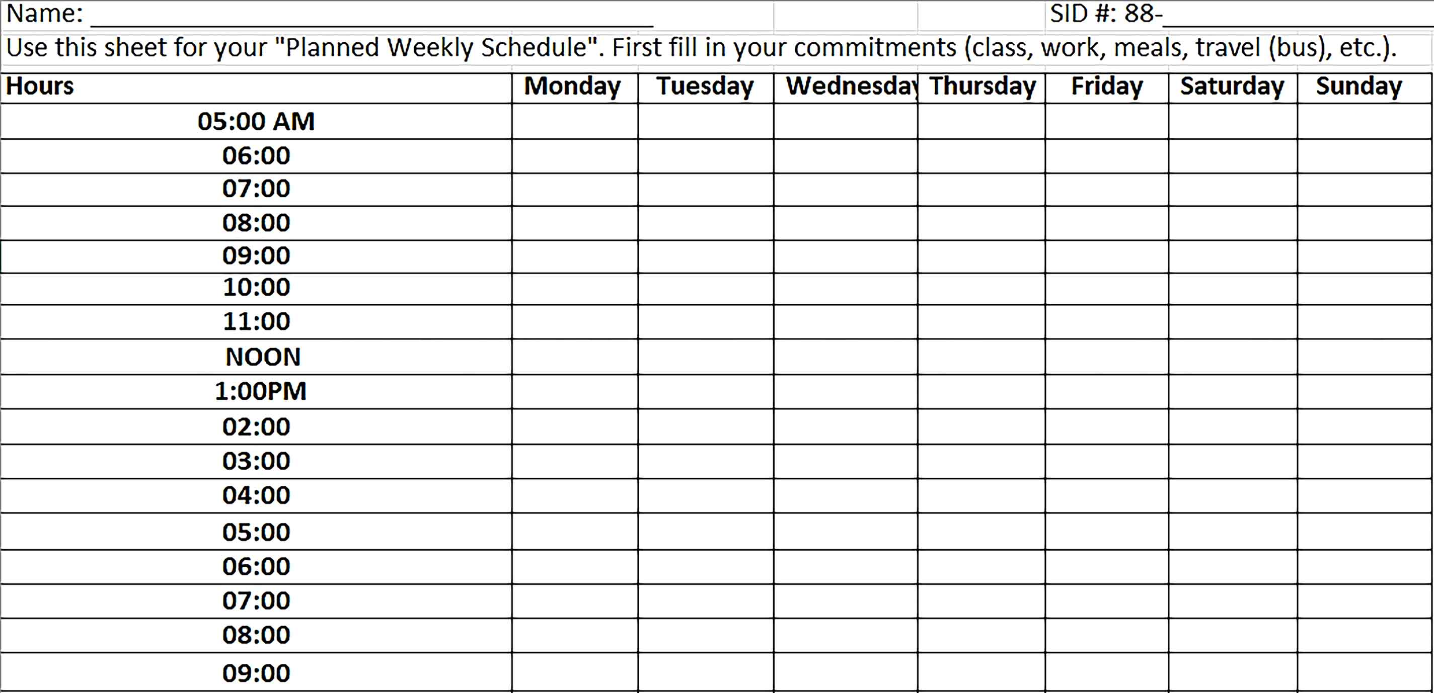 Template Weekly Planned Schedule Excel Sample