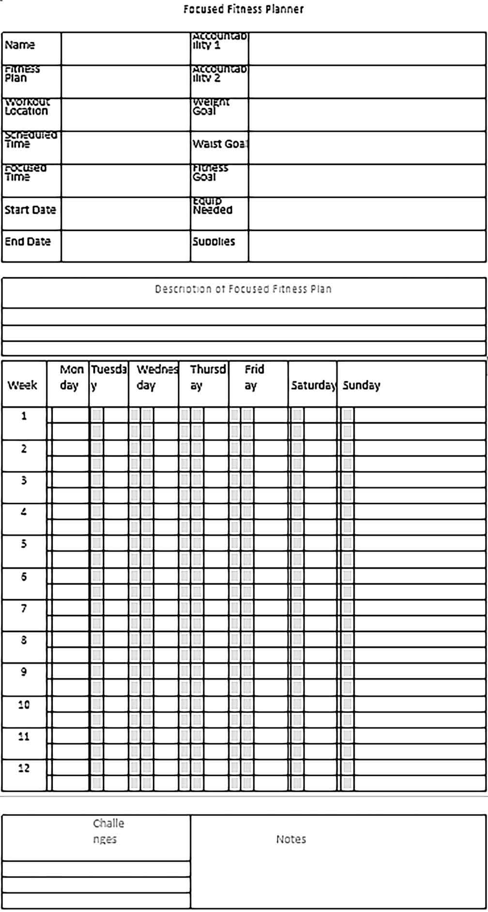 Template blank fitness schedule Sample