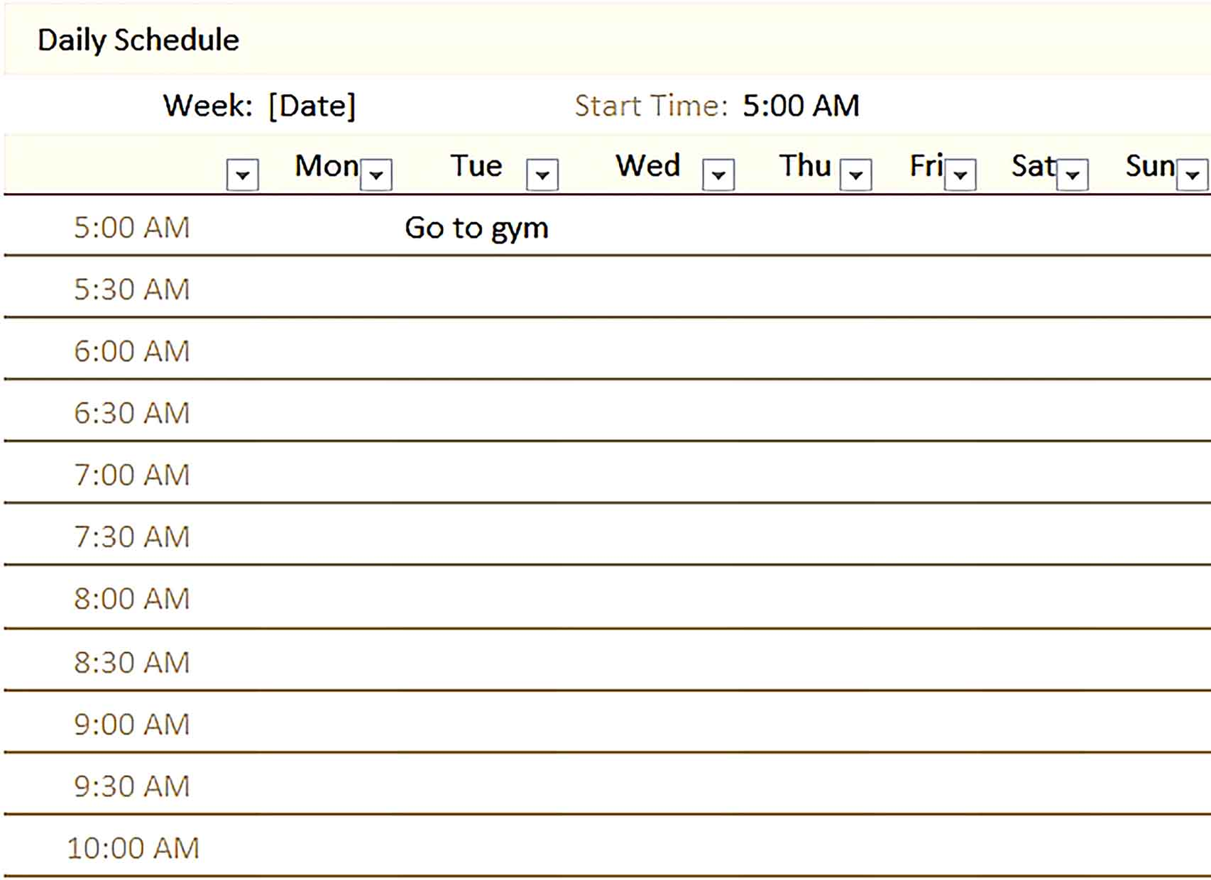 Template daily schedule Sample 004 Copy
