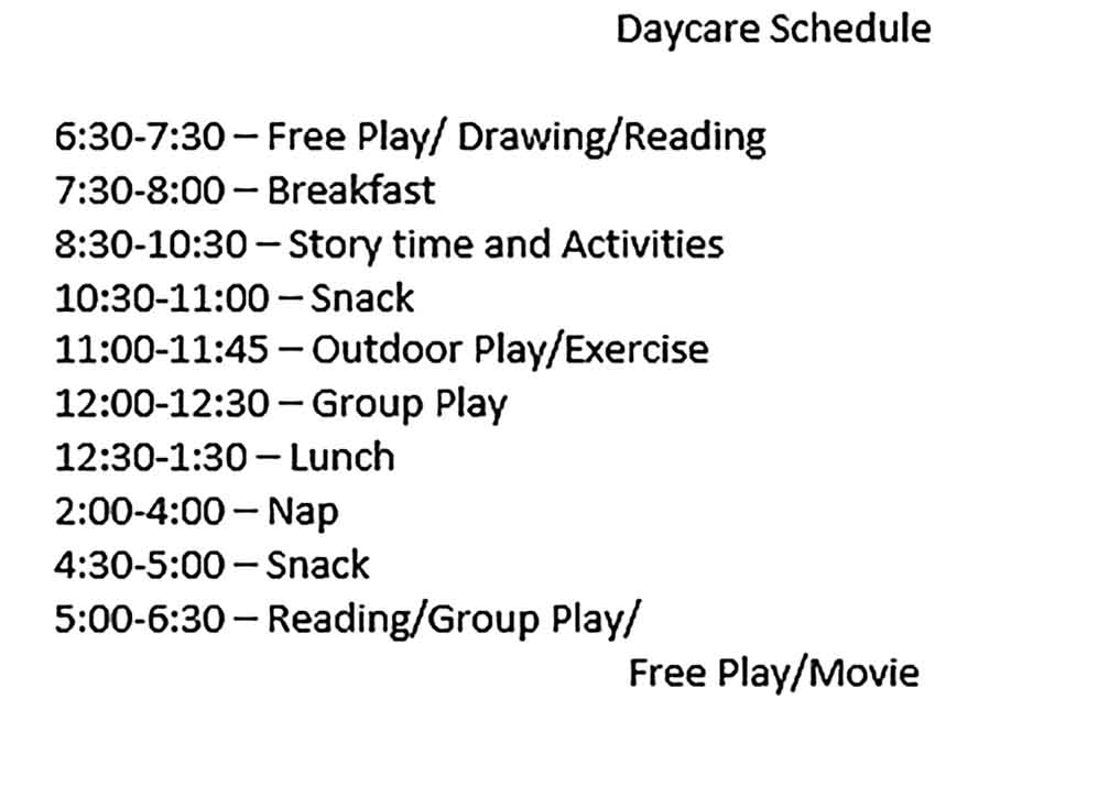Template of Daycare Sample