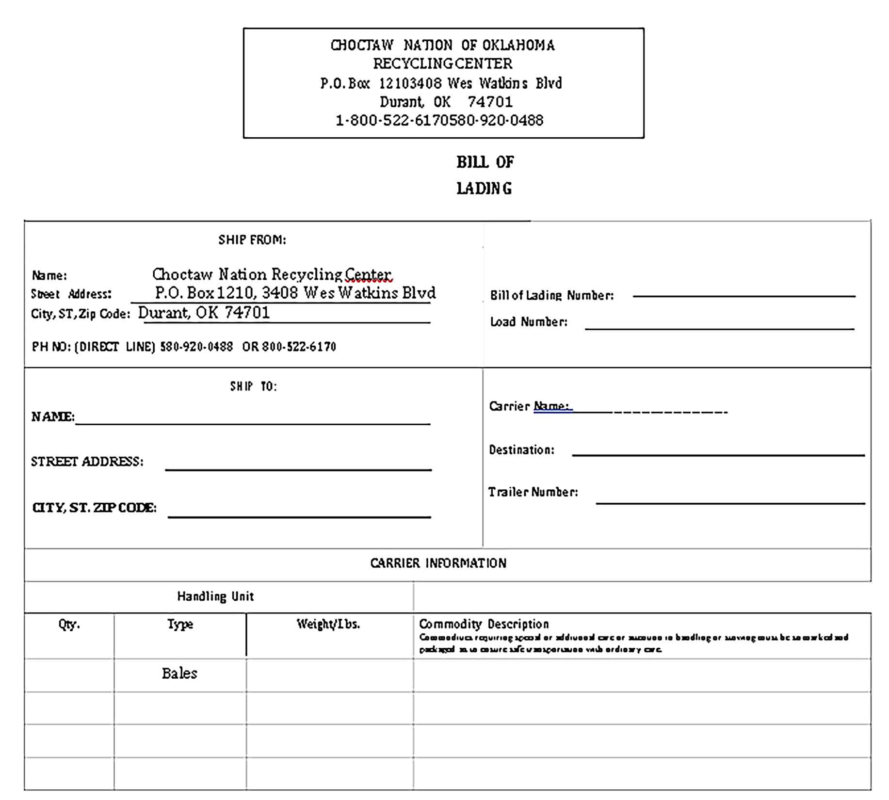 Sample 10 Bill of Lading Templates 1