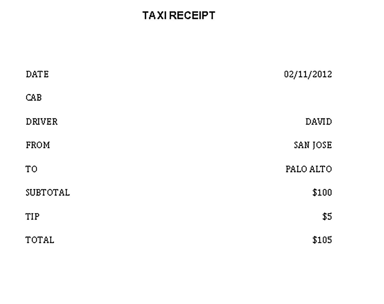 Sample Blank Taxi Receipt Doc 2 Templates