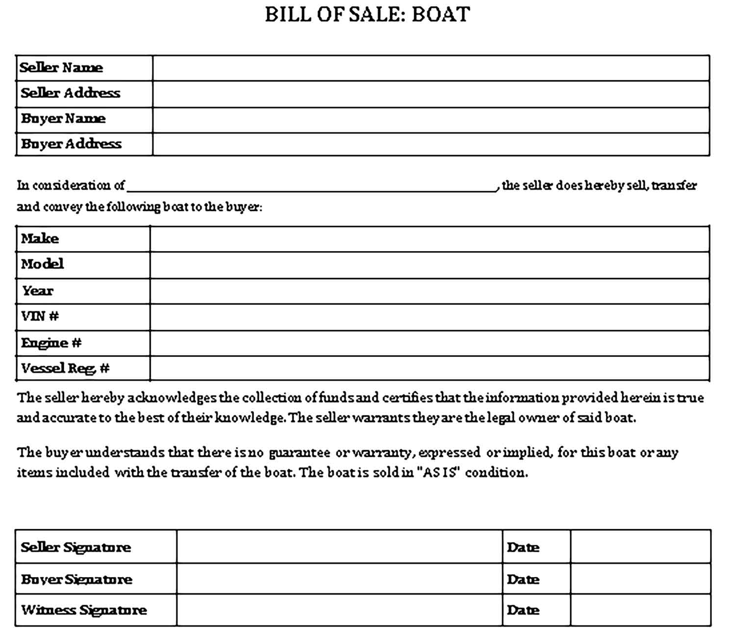 Sample Boat Bill of sale form Templates