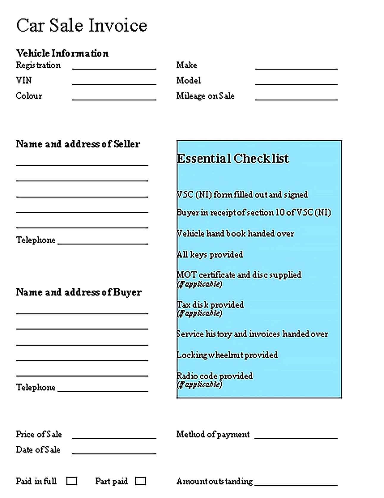 Sample Car Sale Receipt in Format Templates
