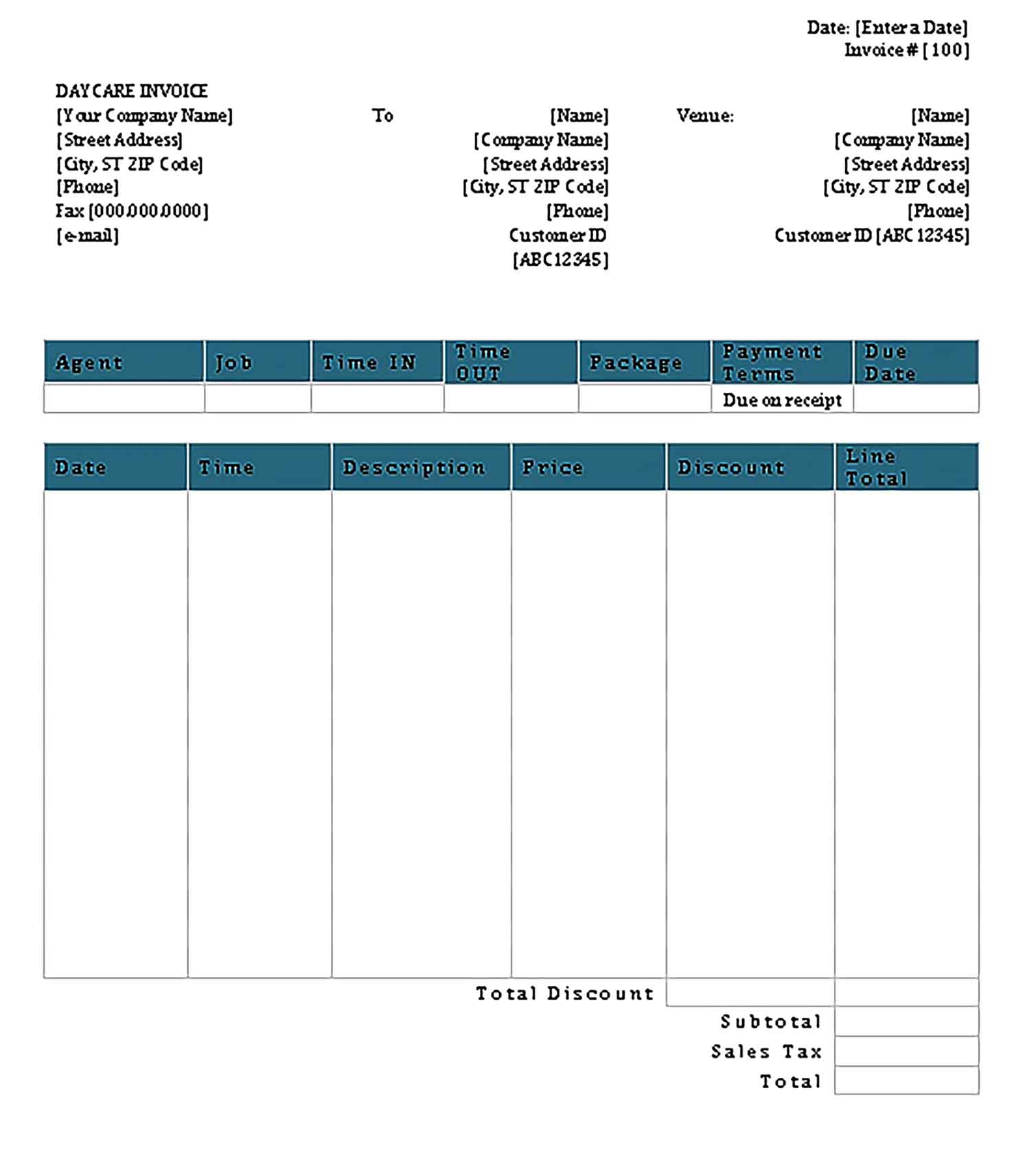 Sample Day Care Invoice Receipt Templates
