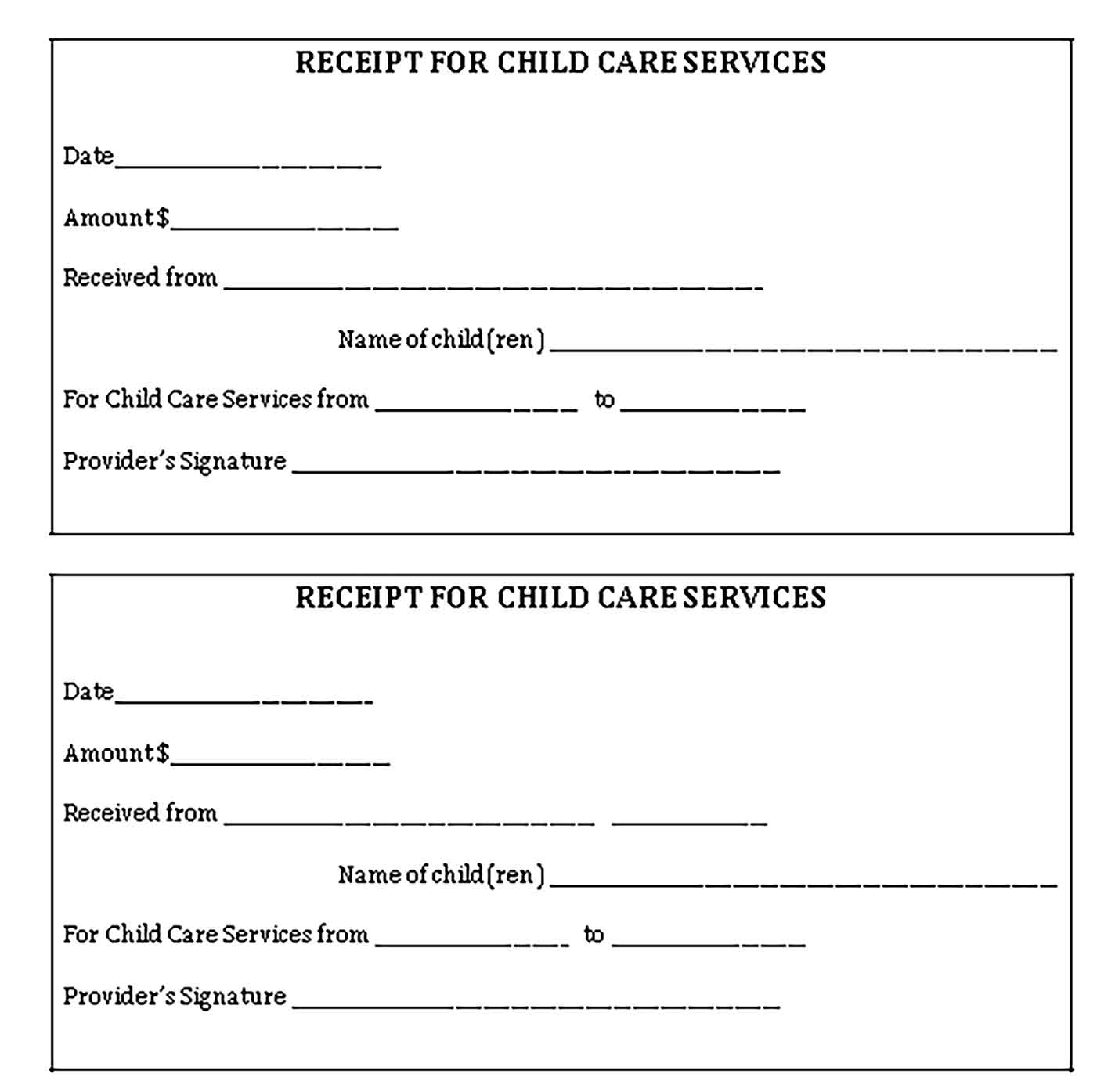 Sample Day Care Services Receipt 1 Templates