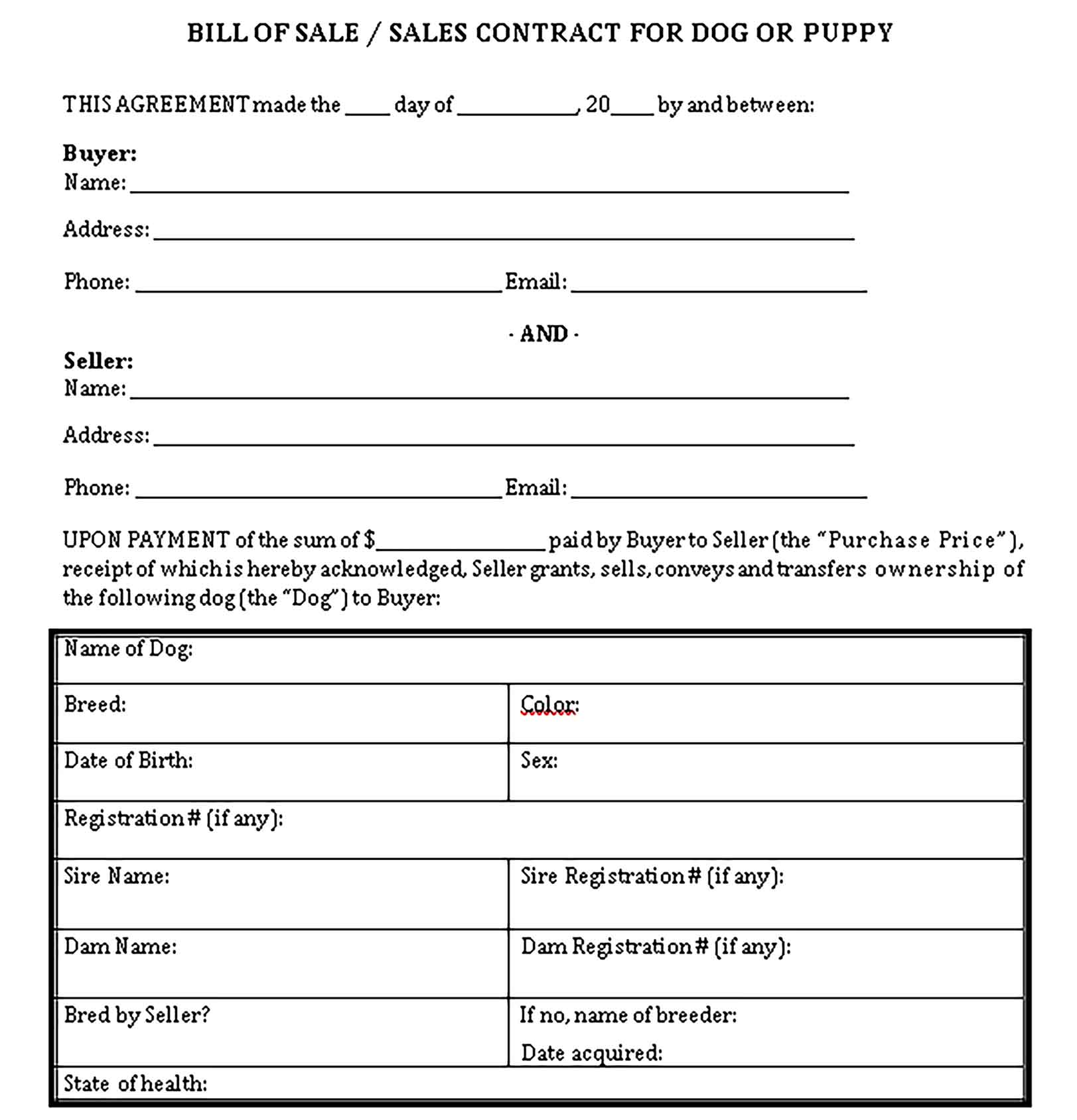 Sample Dog Bill of Sale 002 Templates 1