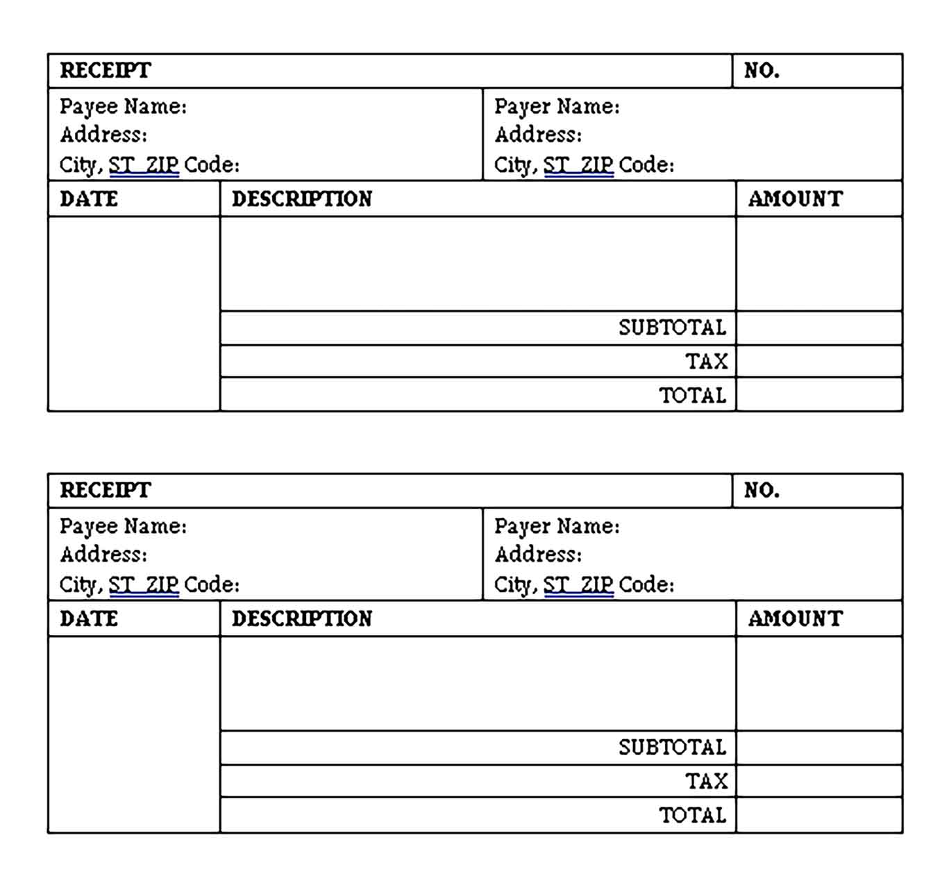 Sample Invoice Receipt Word Templates