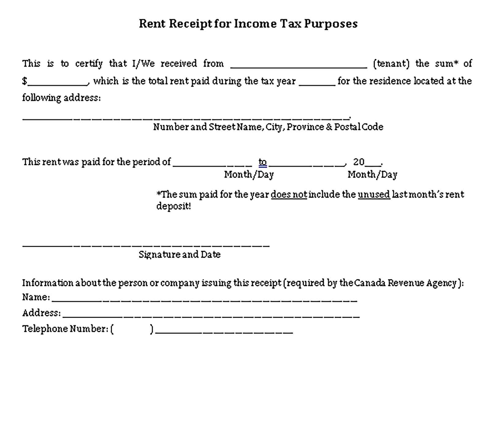 Sample Rent Receipt for Income Tax Purposes Templates 3