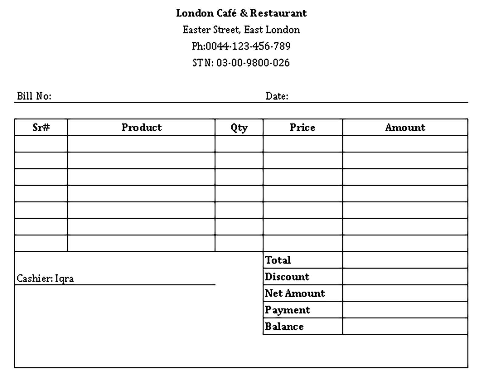 Sample Restaurant Receipt in Excel Templates
