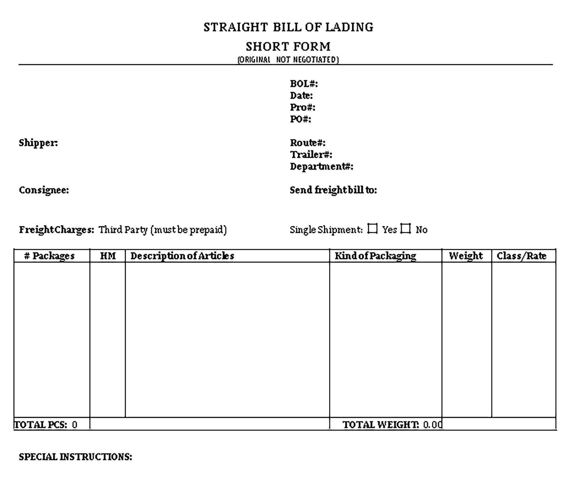 Sample Straight Bill of Lading Short Form from Drake Transportation Templates 1