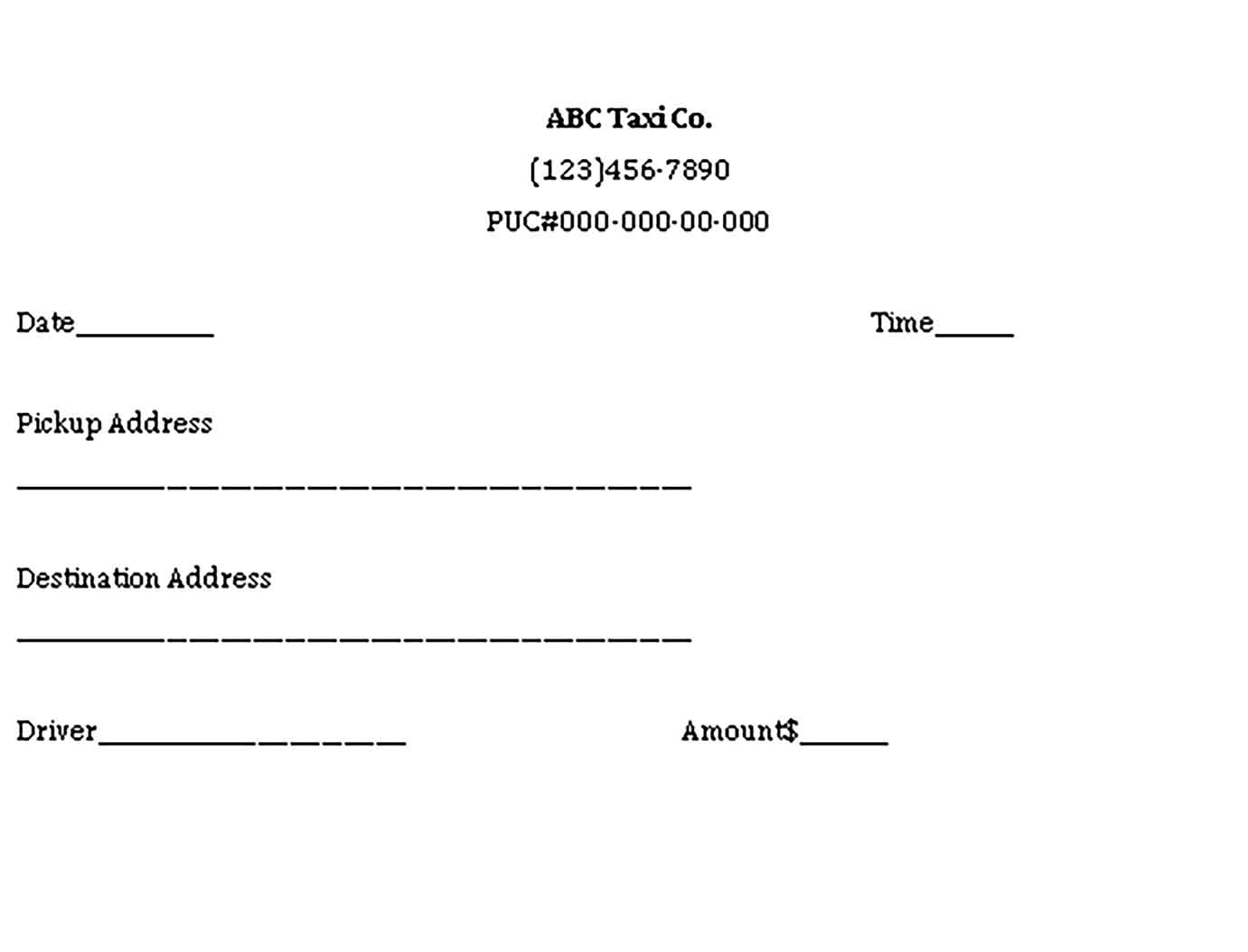 Sample Taxi Receipt Templates 1