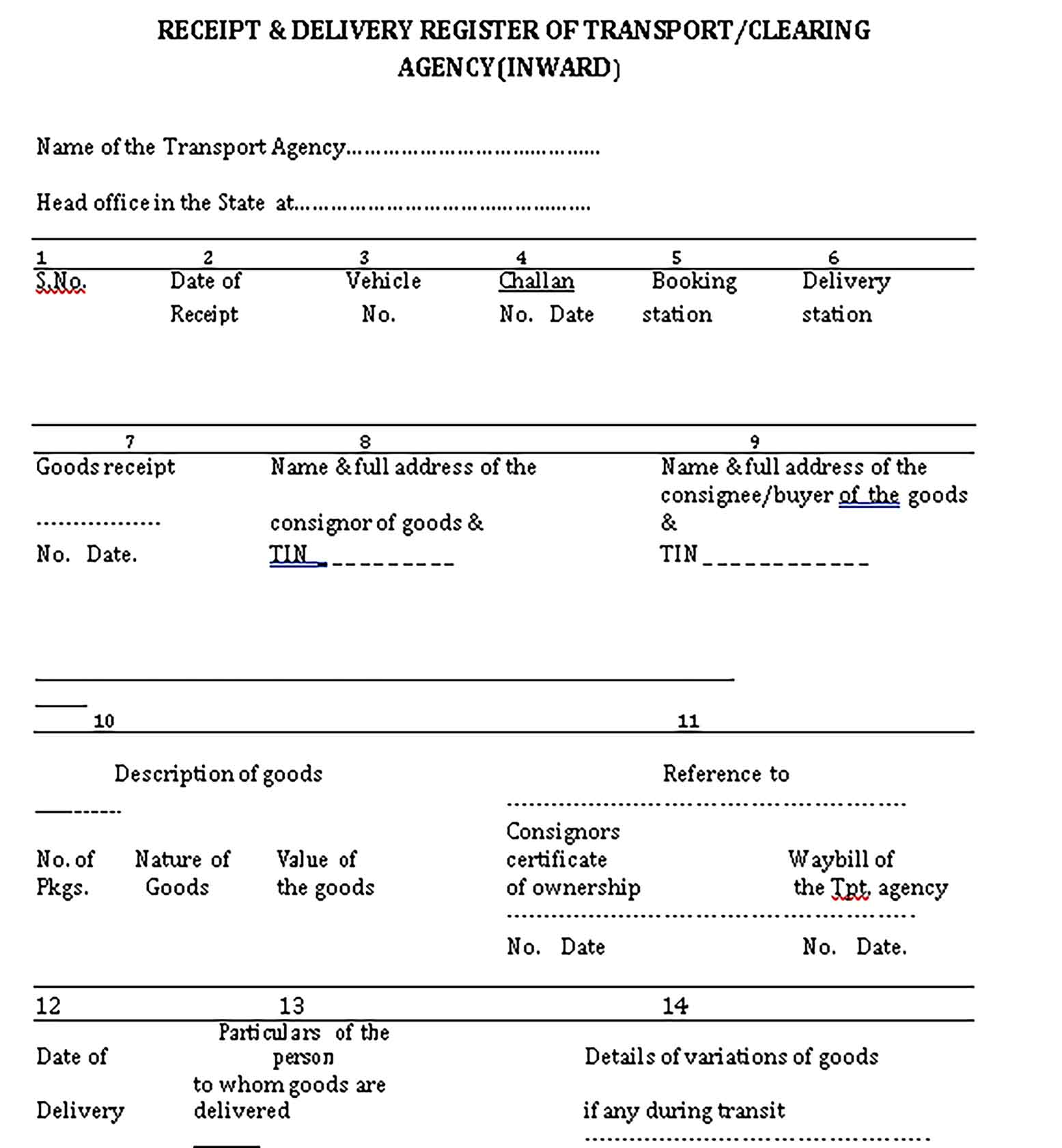 Sample Transport Delivery Templates 1