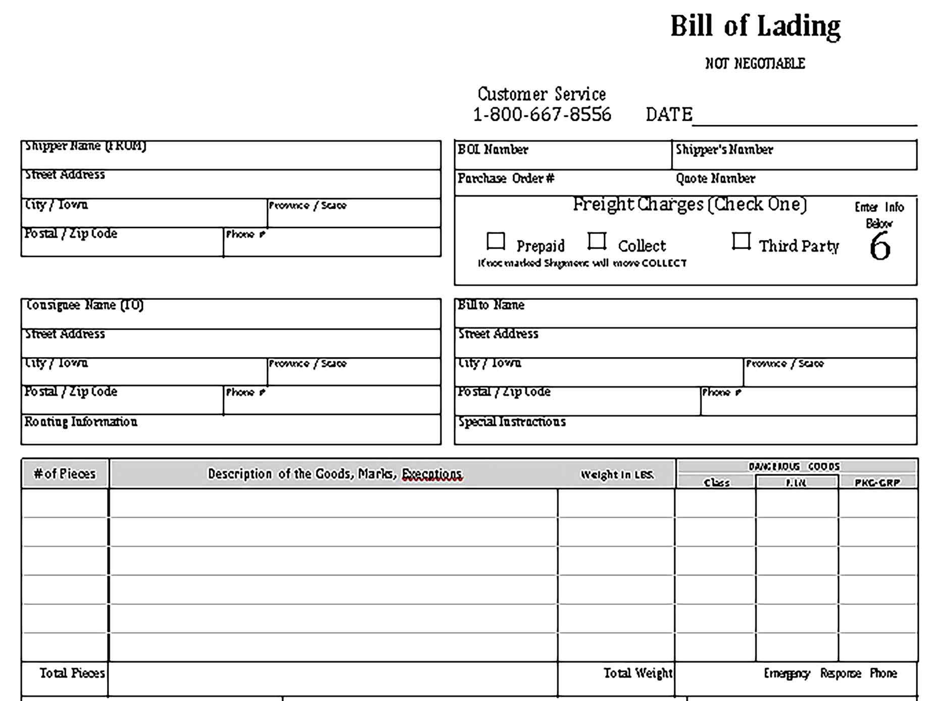 Sample bill of lading 001 Templates