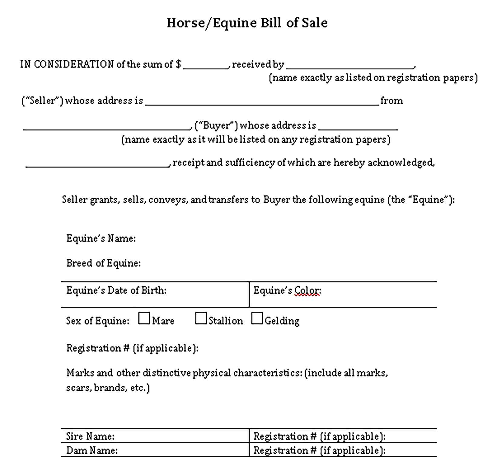 Sample bill of sale for horse purchase Templates 1