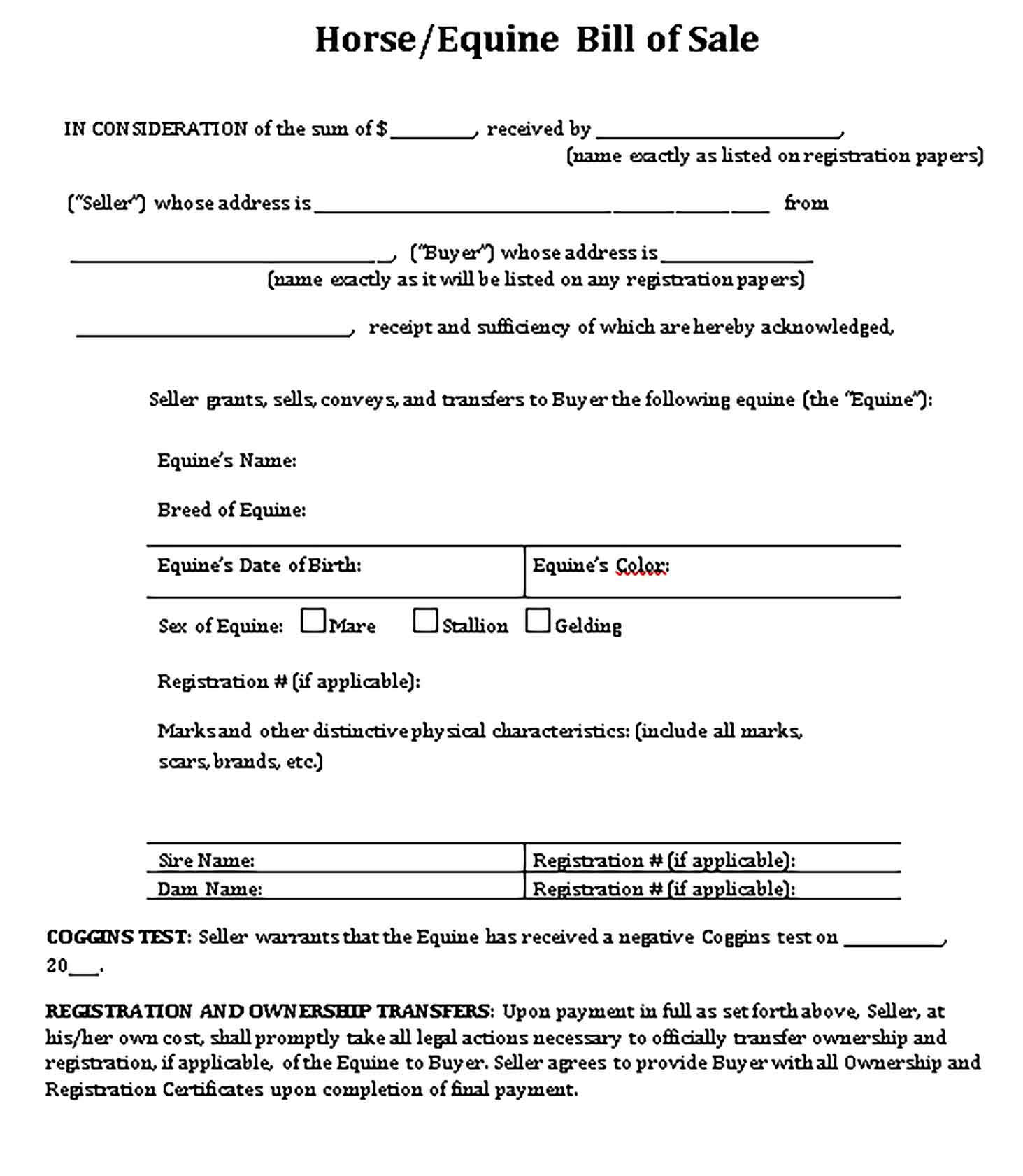 Sample bill of sale for horse purchase Templates