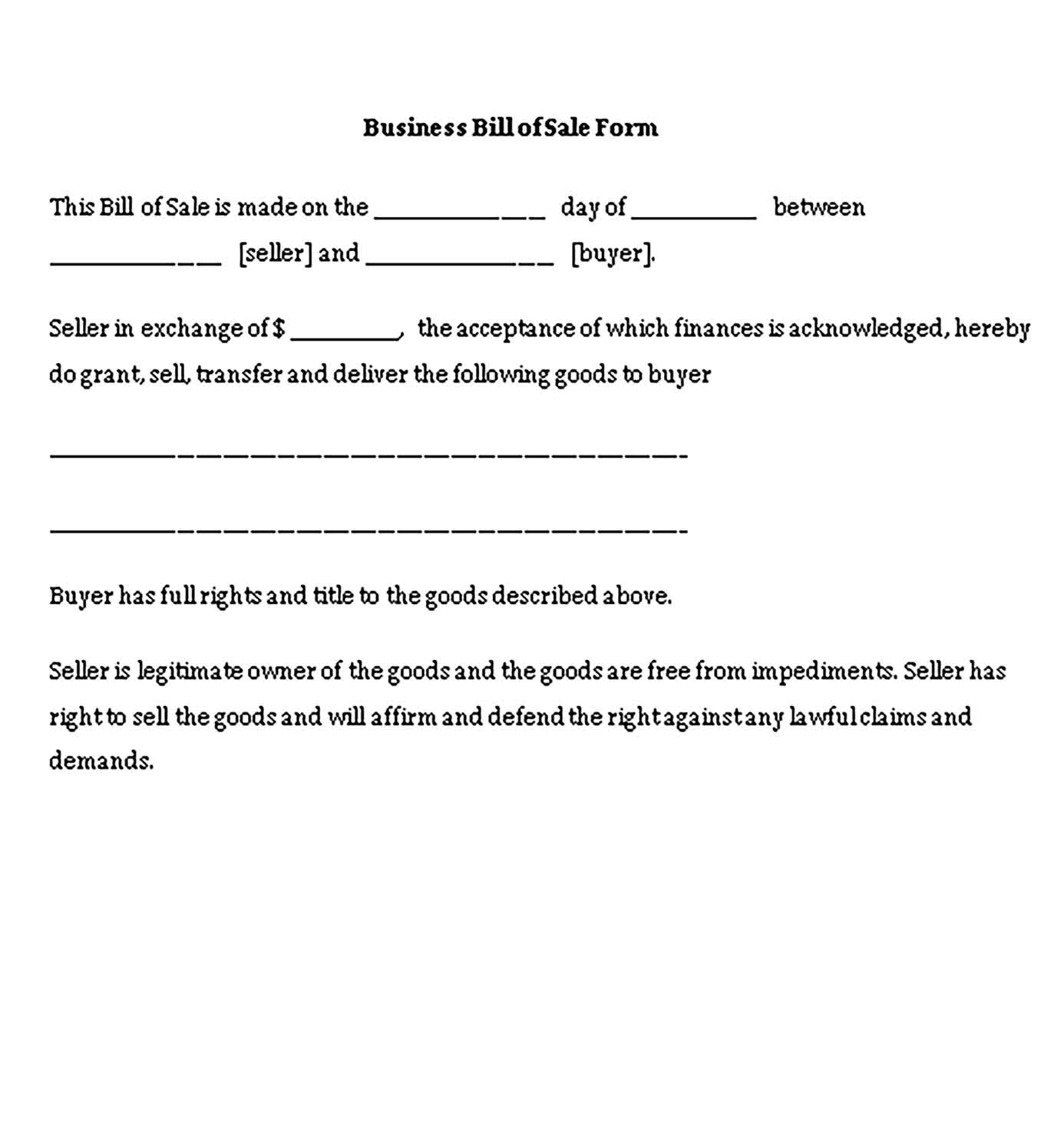 Sample business bill of sale 003 Templates 1