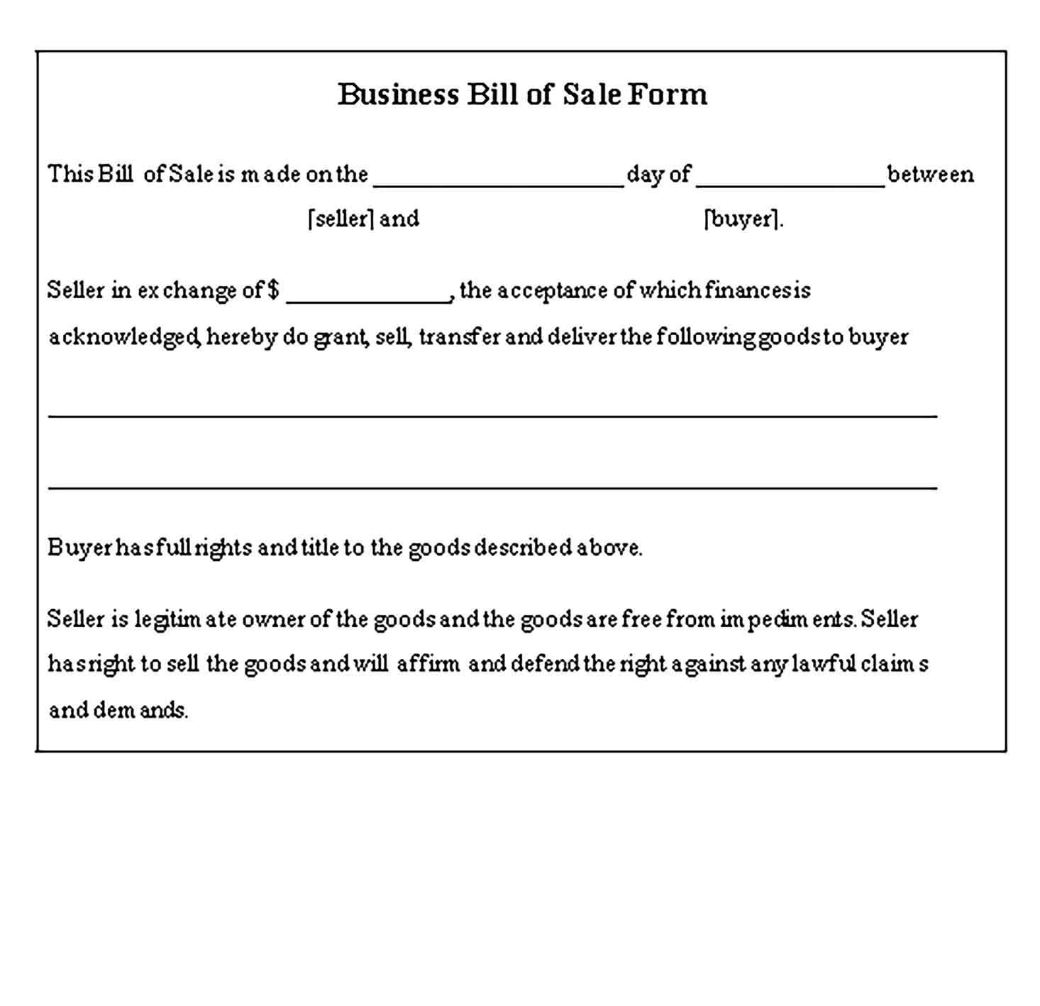 Sample business bill of sale 003 Templates