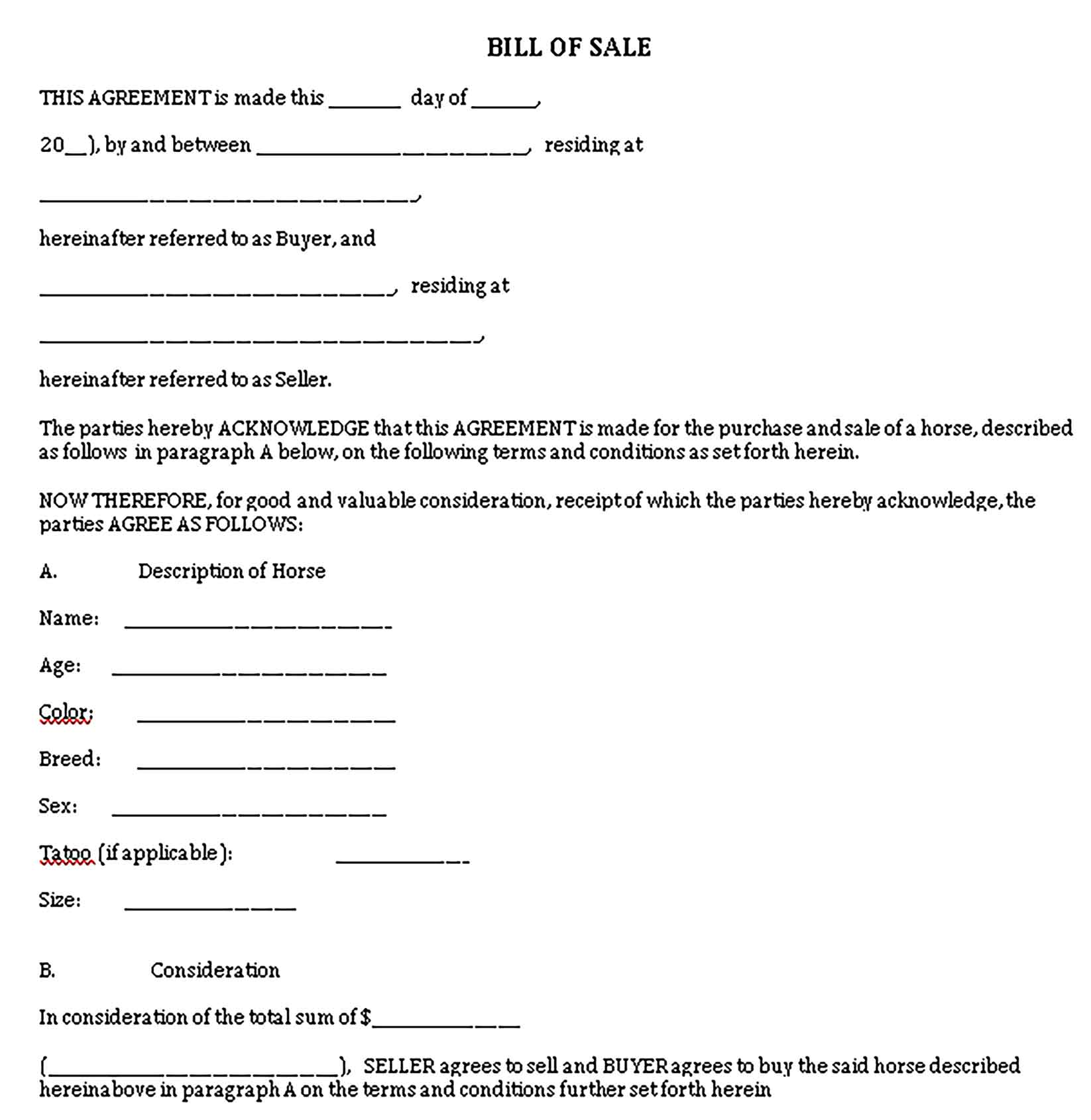 Sample horse bill of sale simple Templates 1